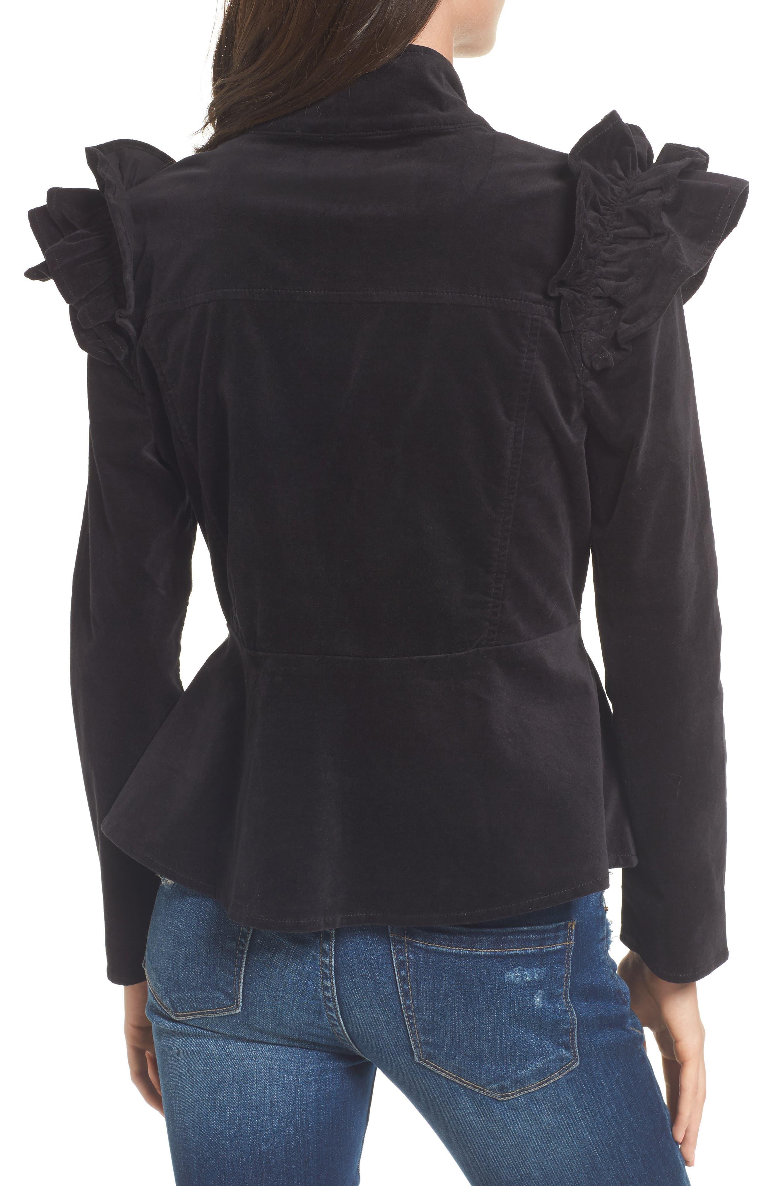 Ruffle Sleeve Peplum Jacket,                             Alternate thumbnail 2, color,                             001