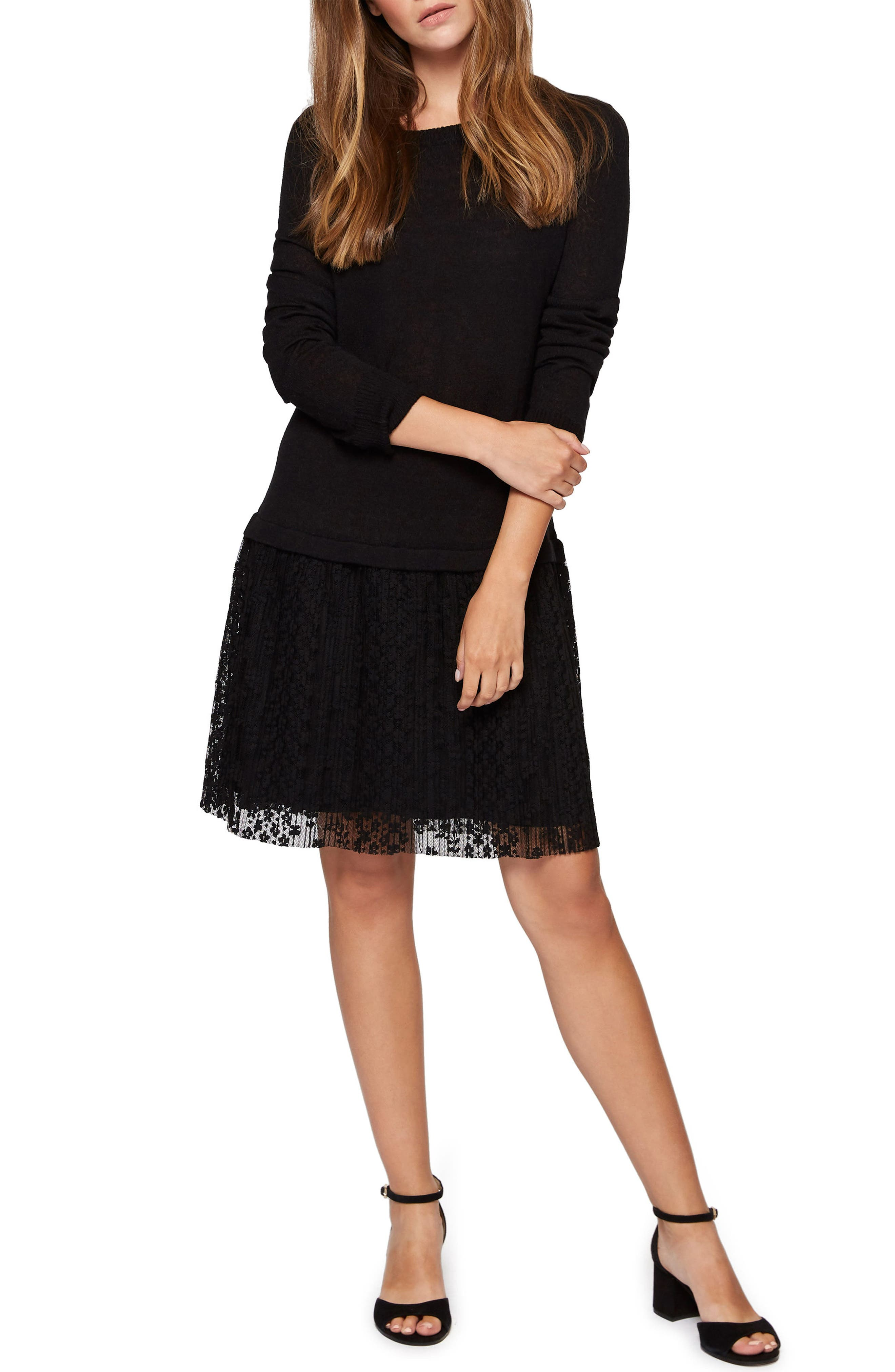 Sophie Lace Skirt Sweater Dress,                         Main,                         color, 001