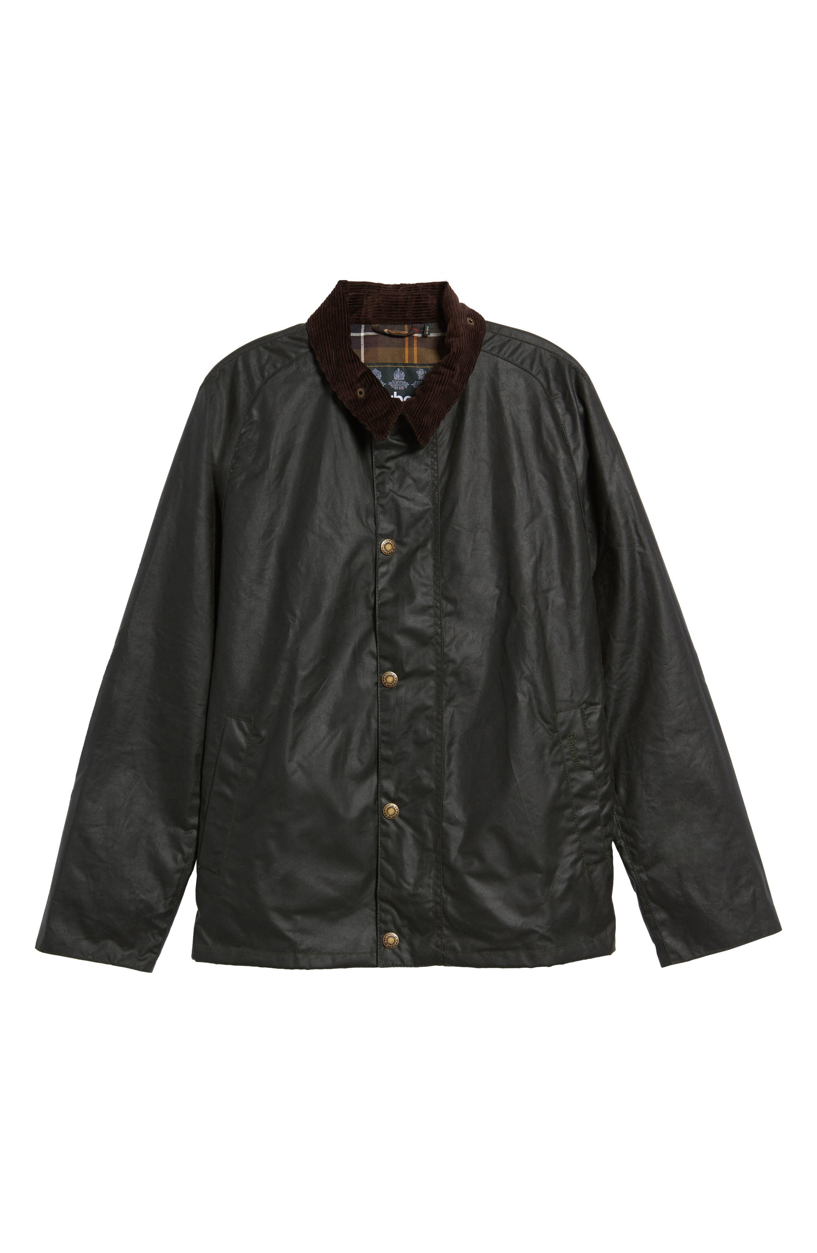 Heskin Waxed Cotton Jacket,                             Alternate thumbnail 5, color,                             SAGE