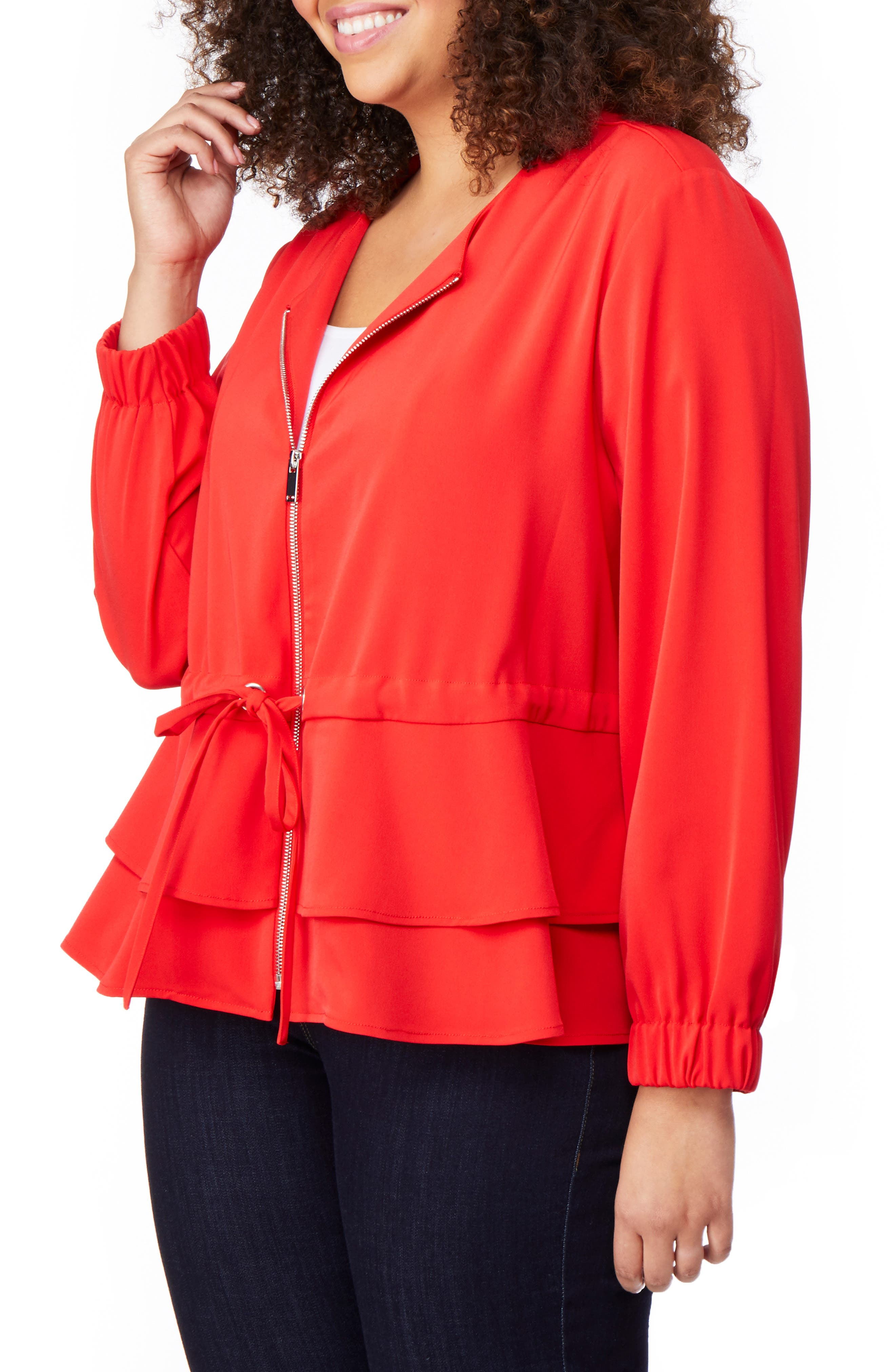 Tiered Peplum Jacket,                             Alternate thumbnail 3, color,                             FIERY RED