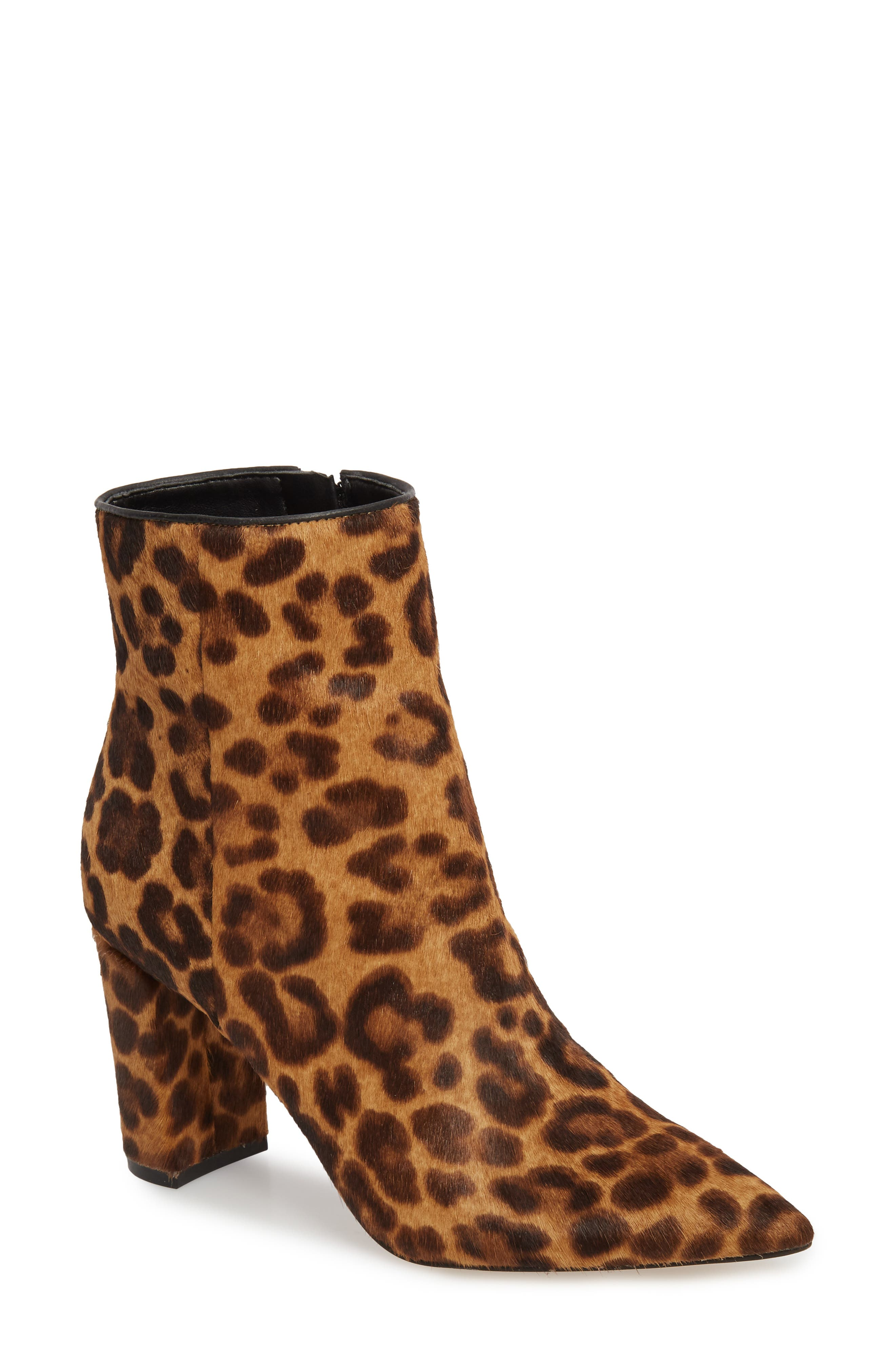 Ulanily Pointy Toe Bootie,                             Main thumbnail 1, color,                             LEOPARD CALF HAIR