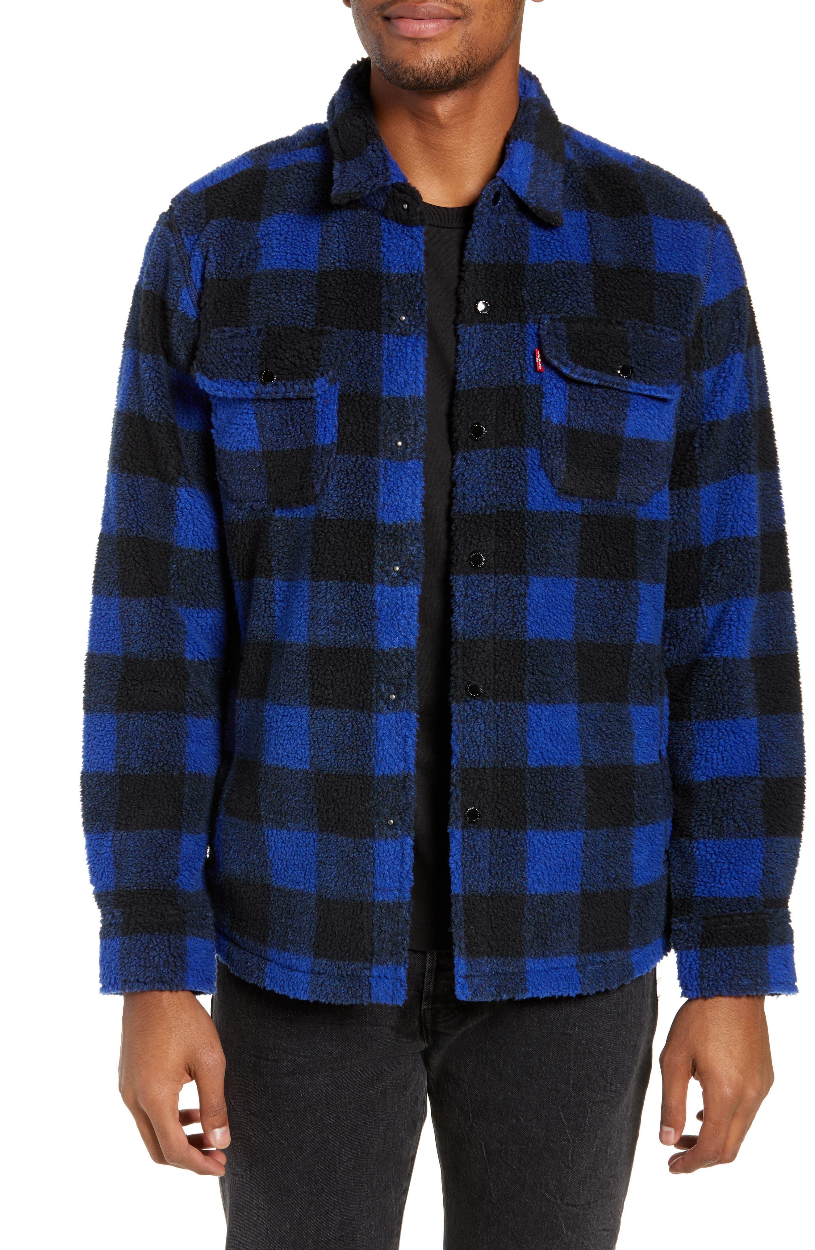 Plaid Faux Shearling Shirt,                         Main,                         color, BLUE