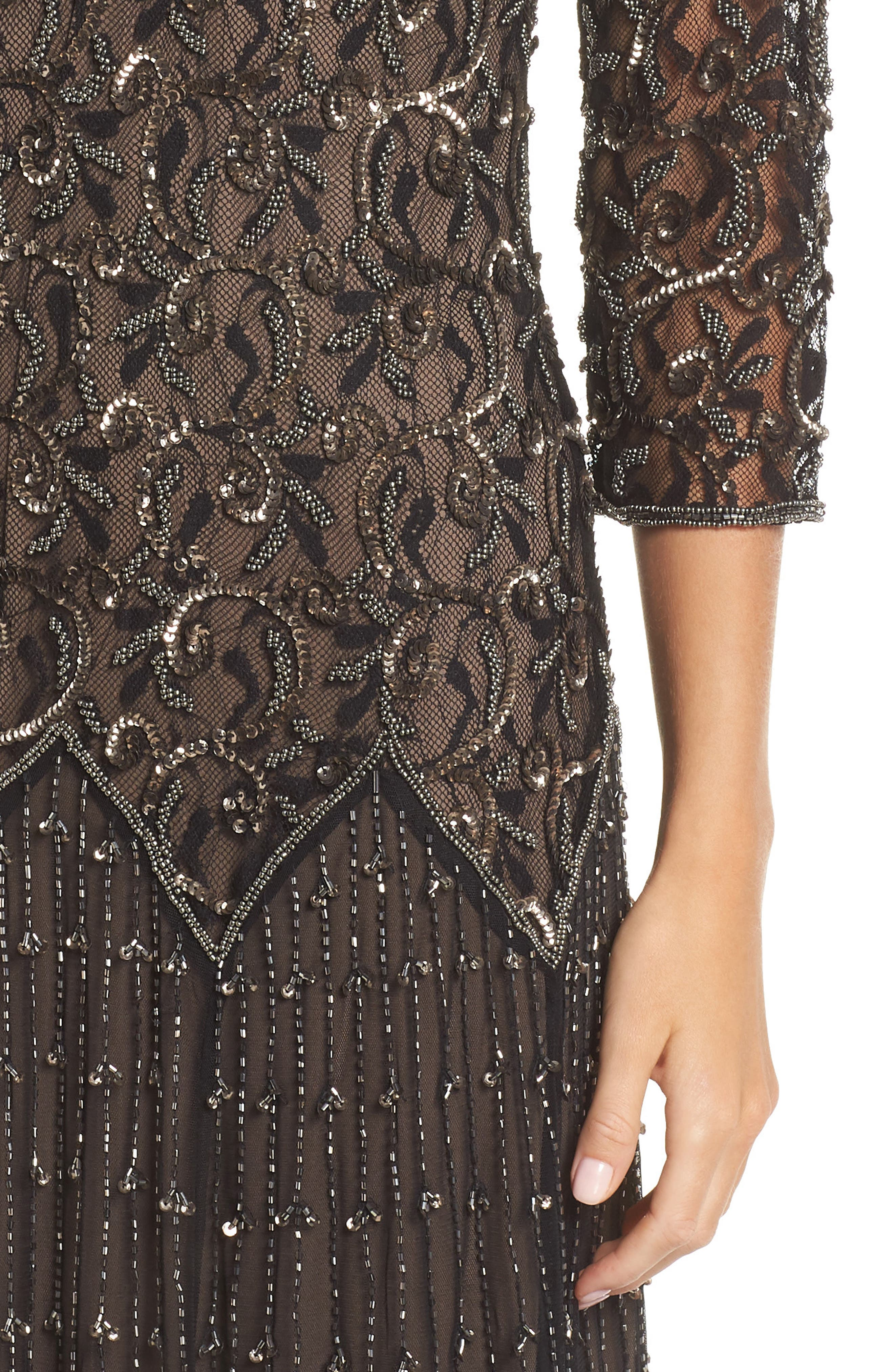 Embellished Mesh Gown,                             Alternate thumbnail 4, color,                             BLACK