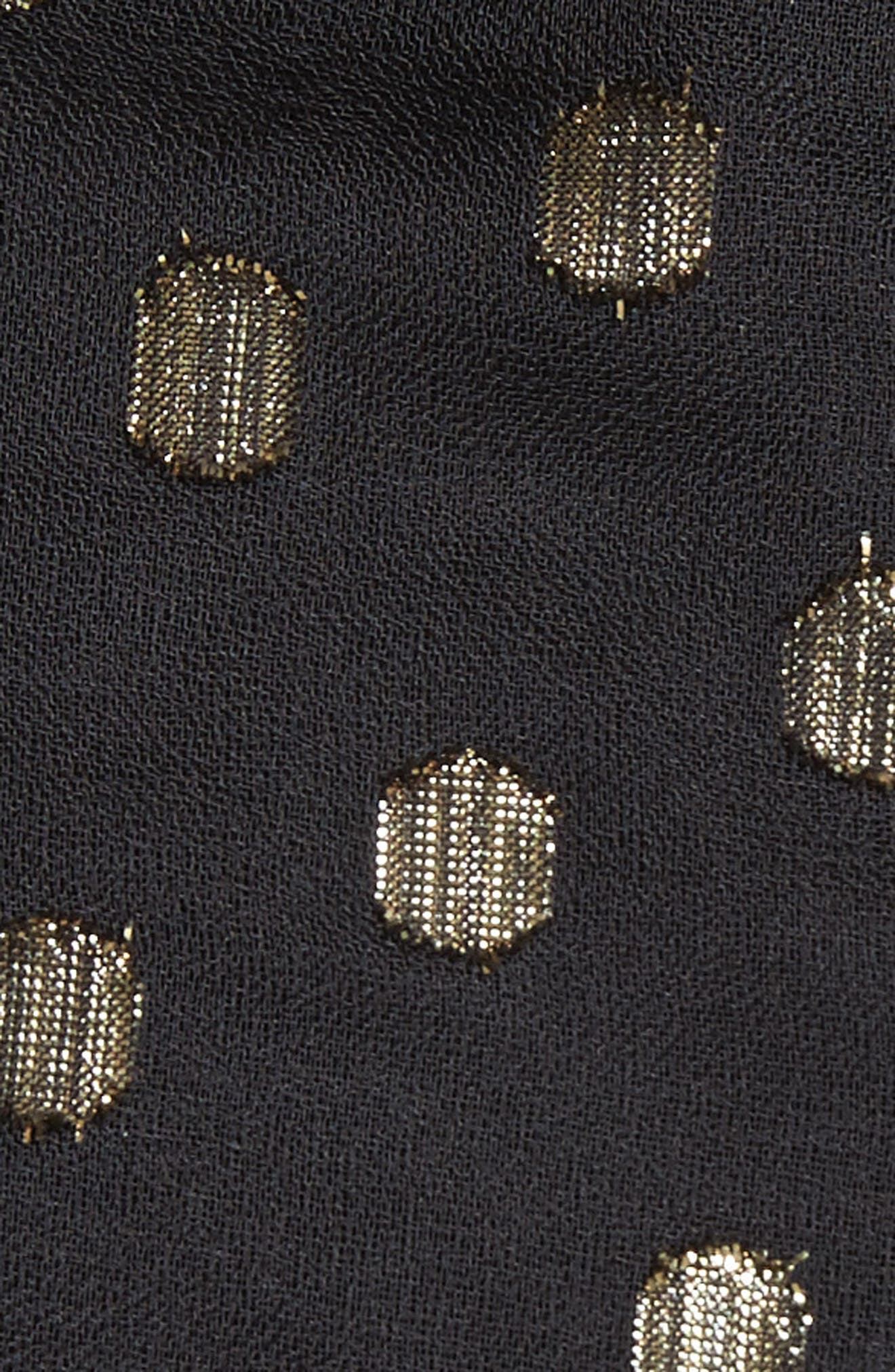 Metallic Polka Dot Chain Strap Dress,                             Alternate thumbnail 5, color,                             004