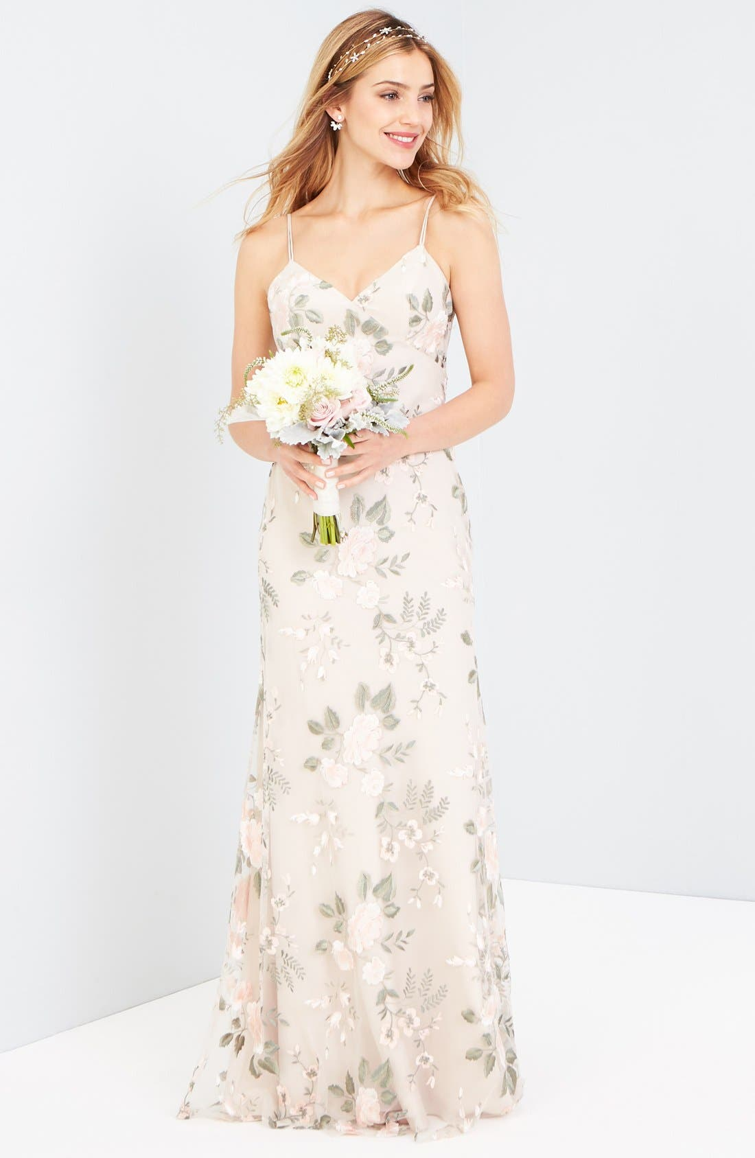 Julianna Embroidered Gown,                             Alternate thumbnail 3, color,                             BLUSH SAND DUNE
