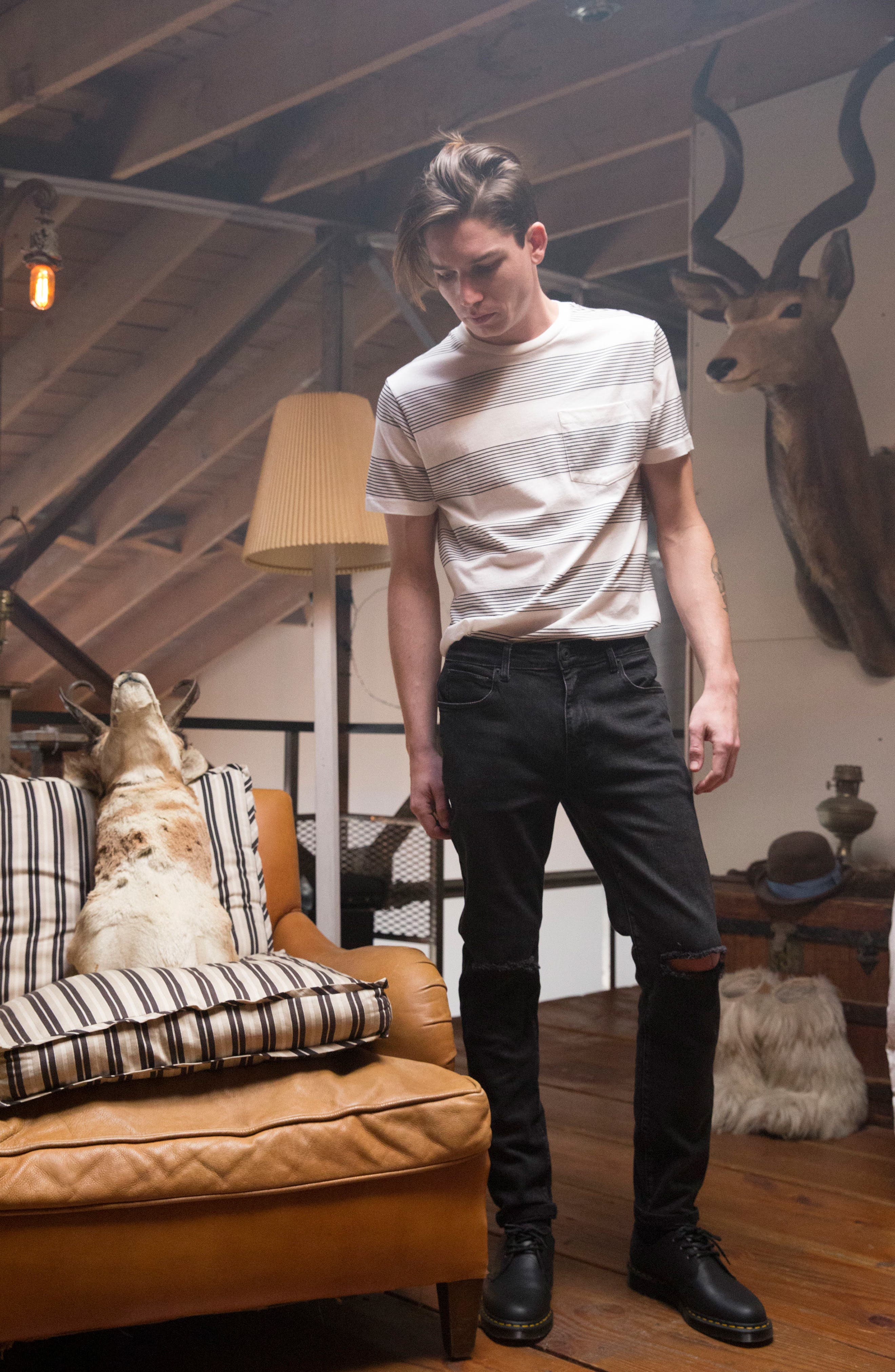 Baxter Ripped Jeans,                             Alternate thumbnail 7, color,                             001