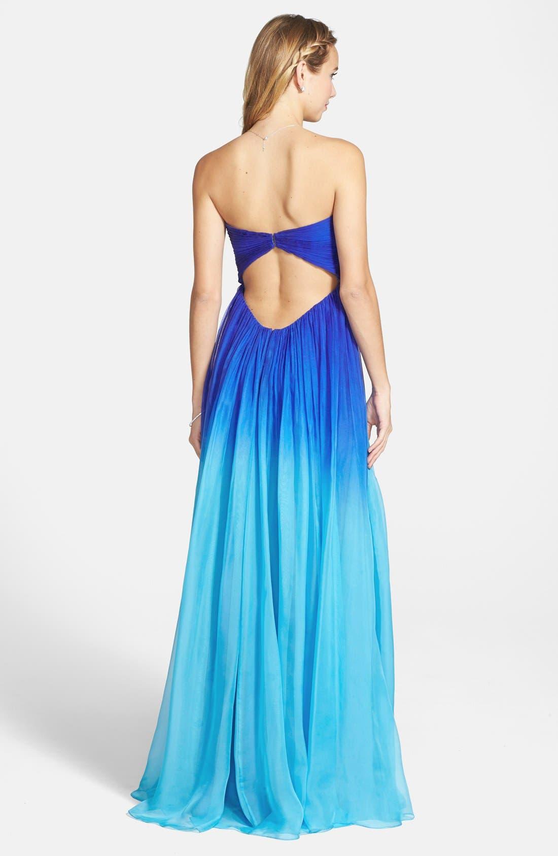 LA FEMME,                             Ruched Ombré Chiffon Strapless Gown,                             Alternate thumbnail 4, color,                             440
