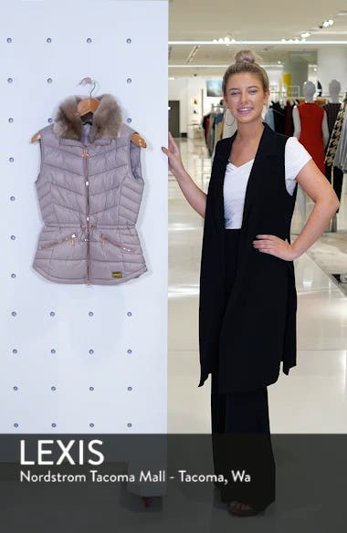 Victory Cinch Waist Chevron Quilted Gilet with Removable Faux Fur Collar, sales video thumbnail