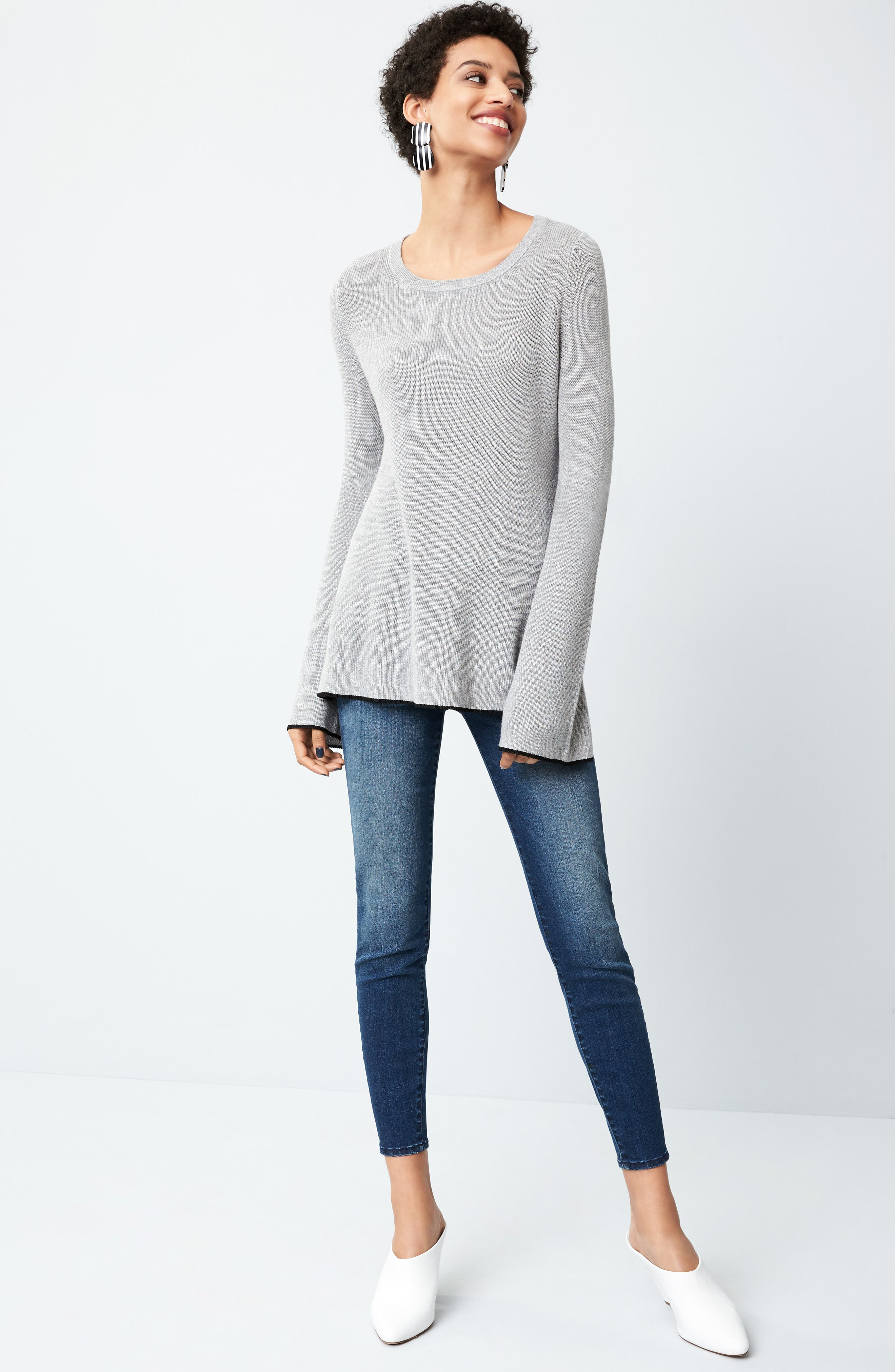 Tipped Bell Sleeve Sweater,                             Alternate thumbnail 43, color,