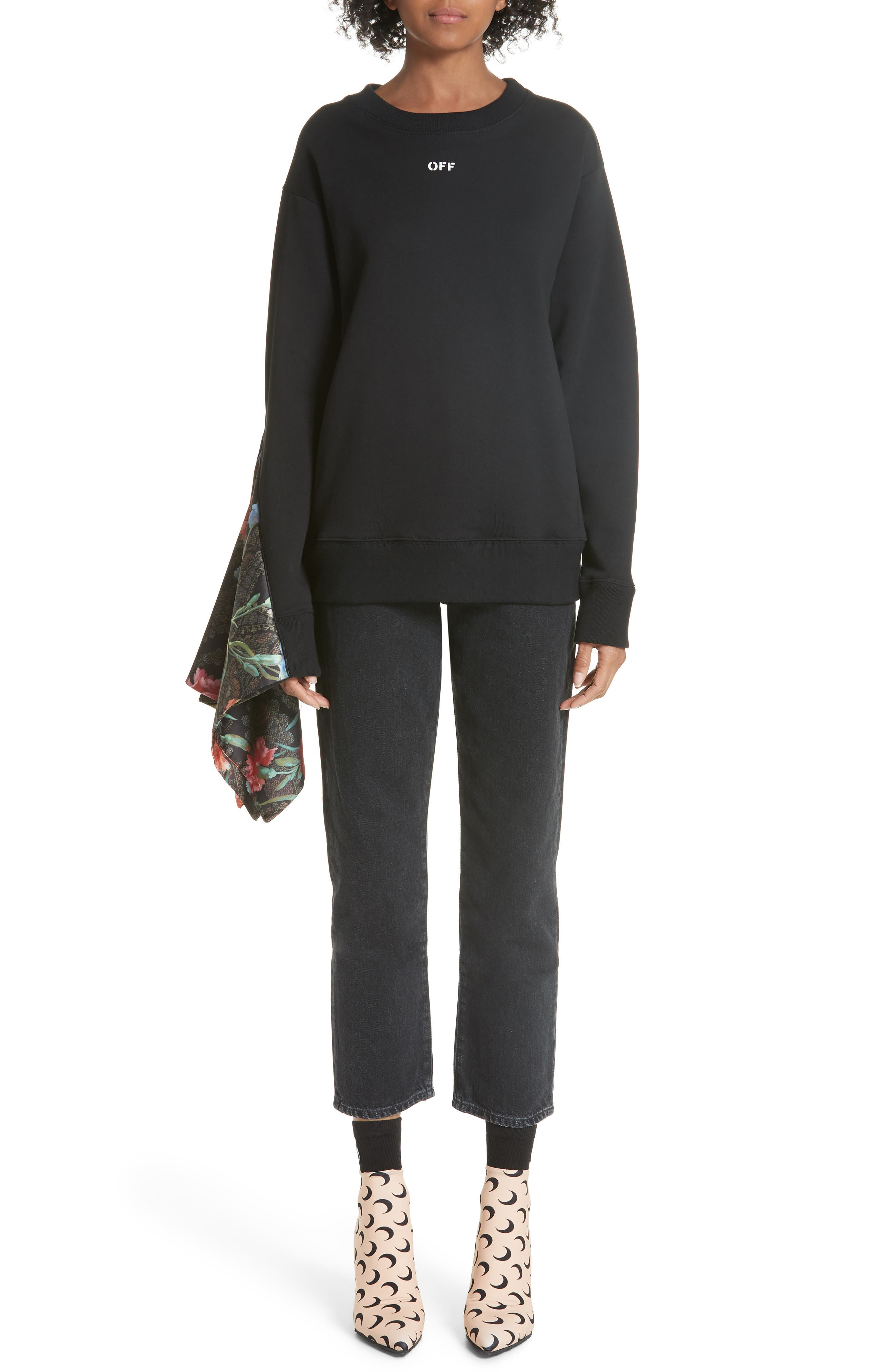 Foulard Sleeve Crewneck Sweatshirt,                             Alternate thumbnail 8, color,                             001
