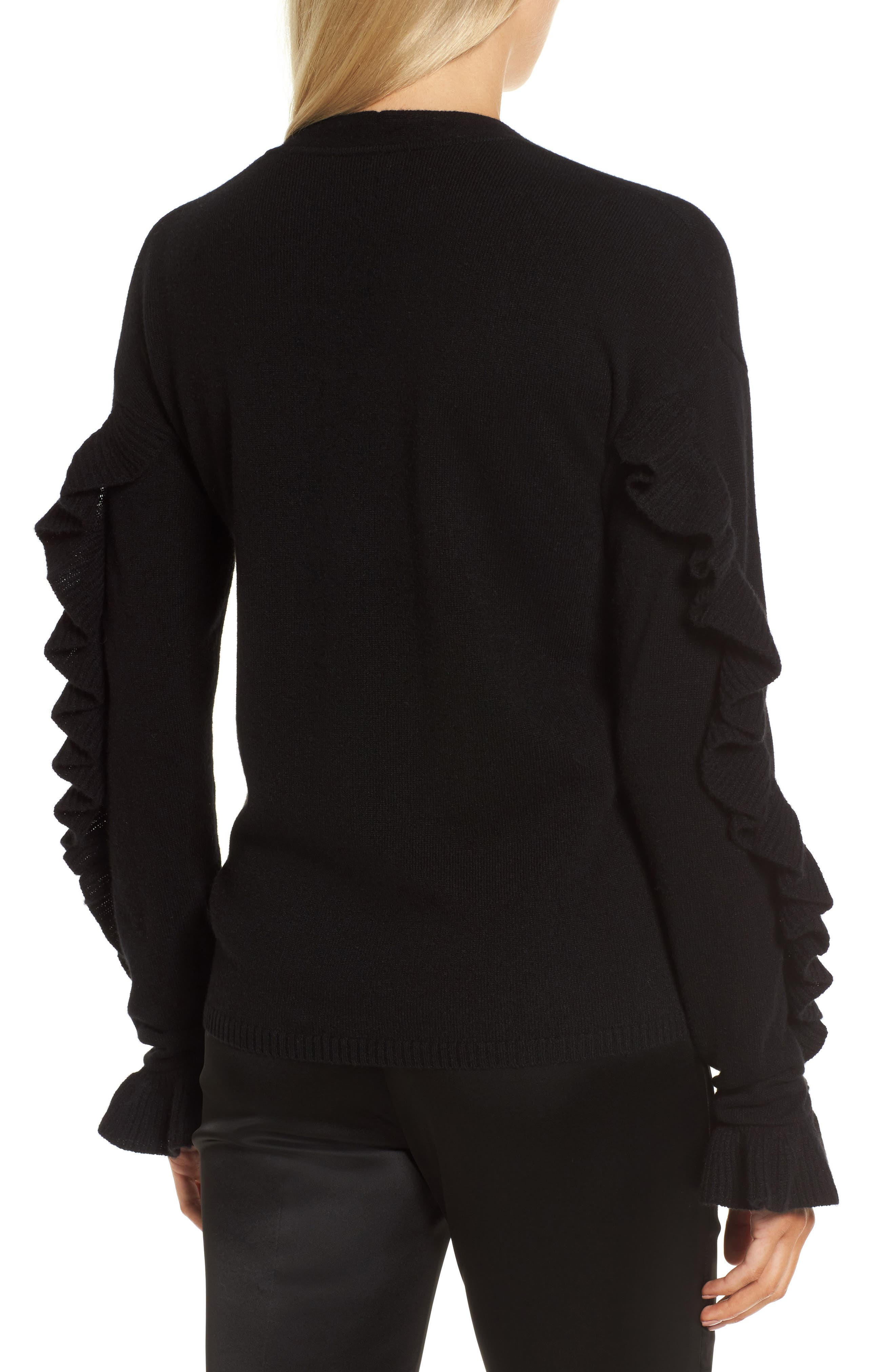 Ruffle Sleeve Cashmere Sweater,                             Alternate thumbnail 3, color,