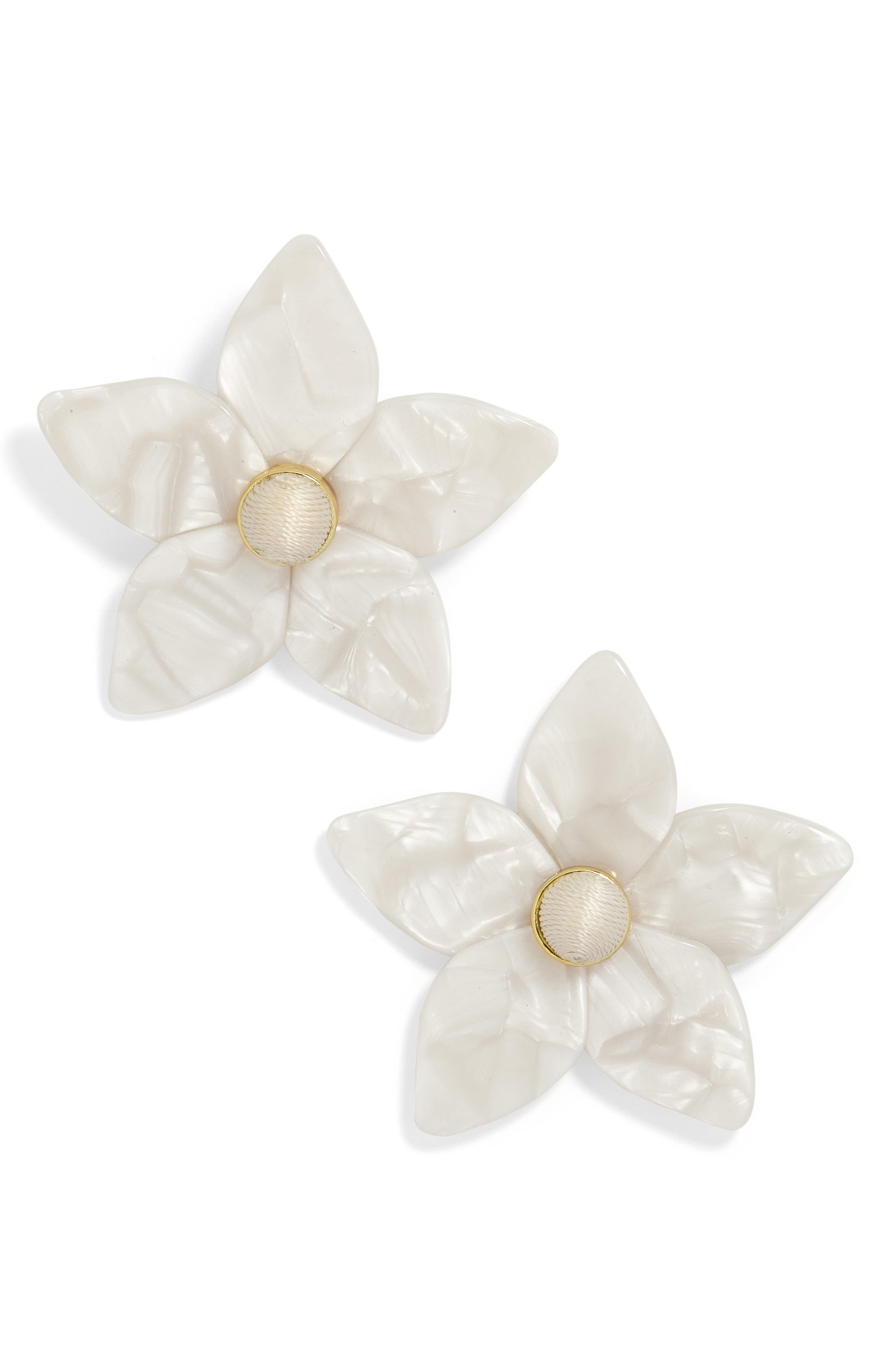 Amariella Acrylic Flower Stud Earrings,                             Alternate thumbnail 2, color,                             WHITE