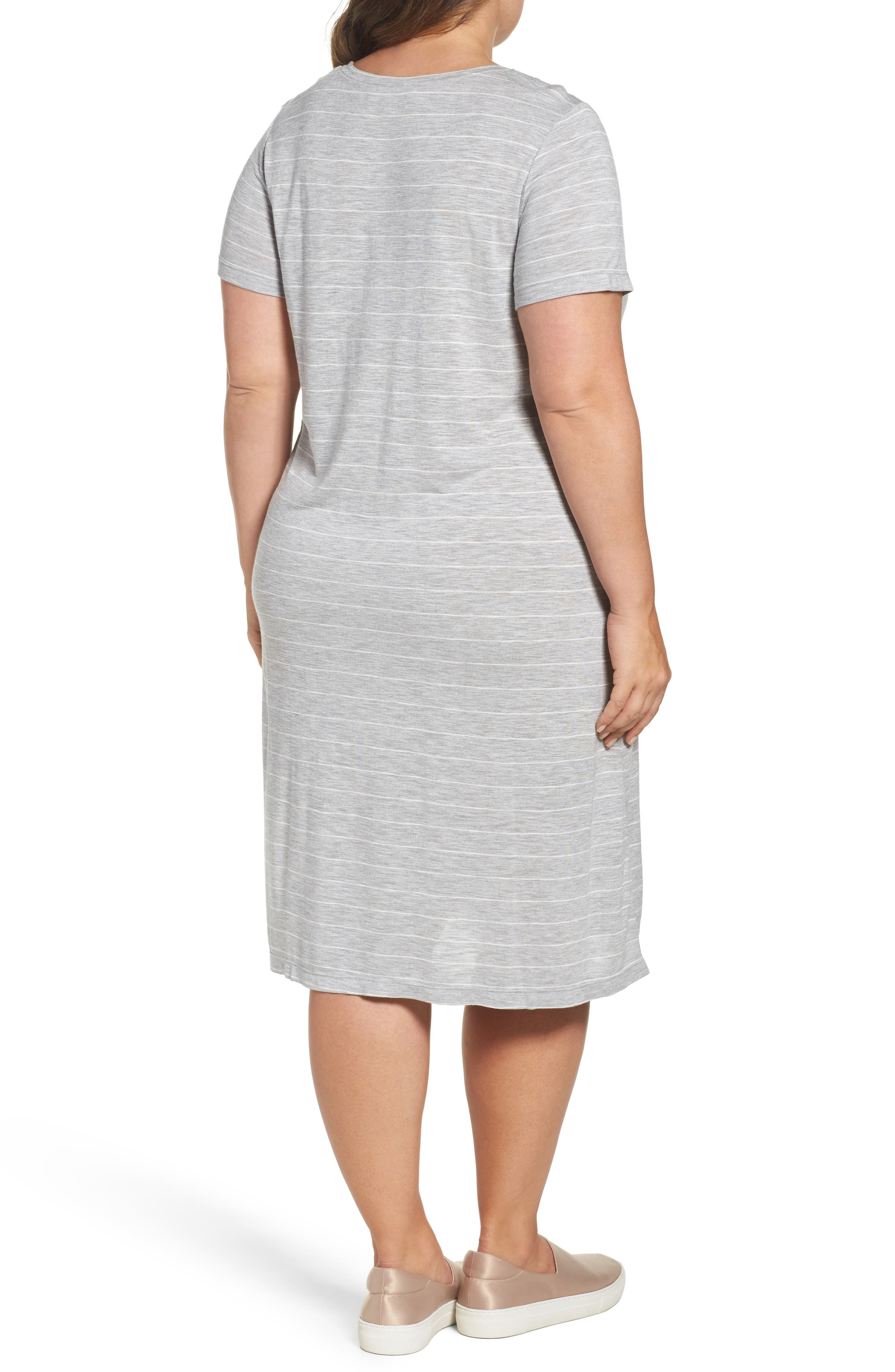 Delicate Stripe T-Shirt Dress,                             Alternate thumbnail 2, color,                             050