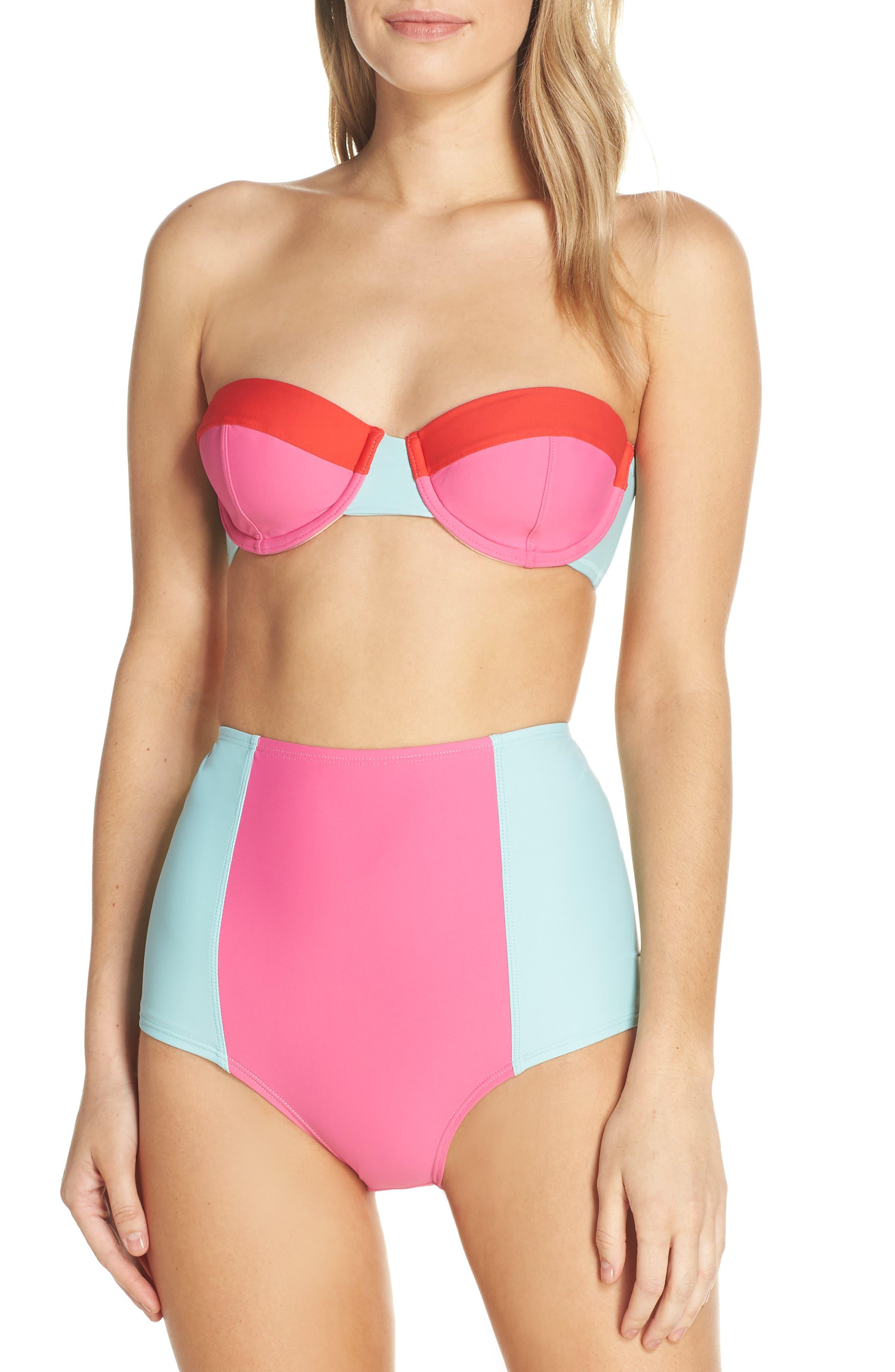 Colorblock Underwire Bikini Top,                             Alternate thumbnail 8, color,                             MINT CERISE PINK