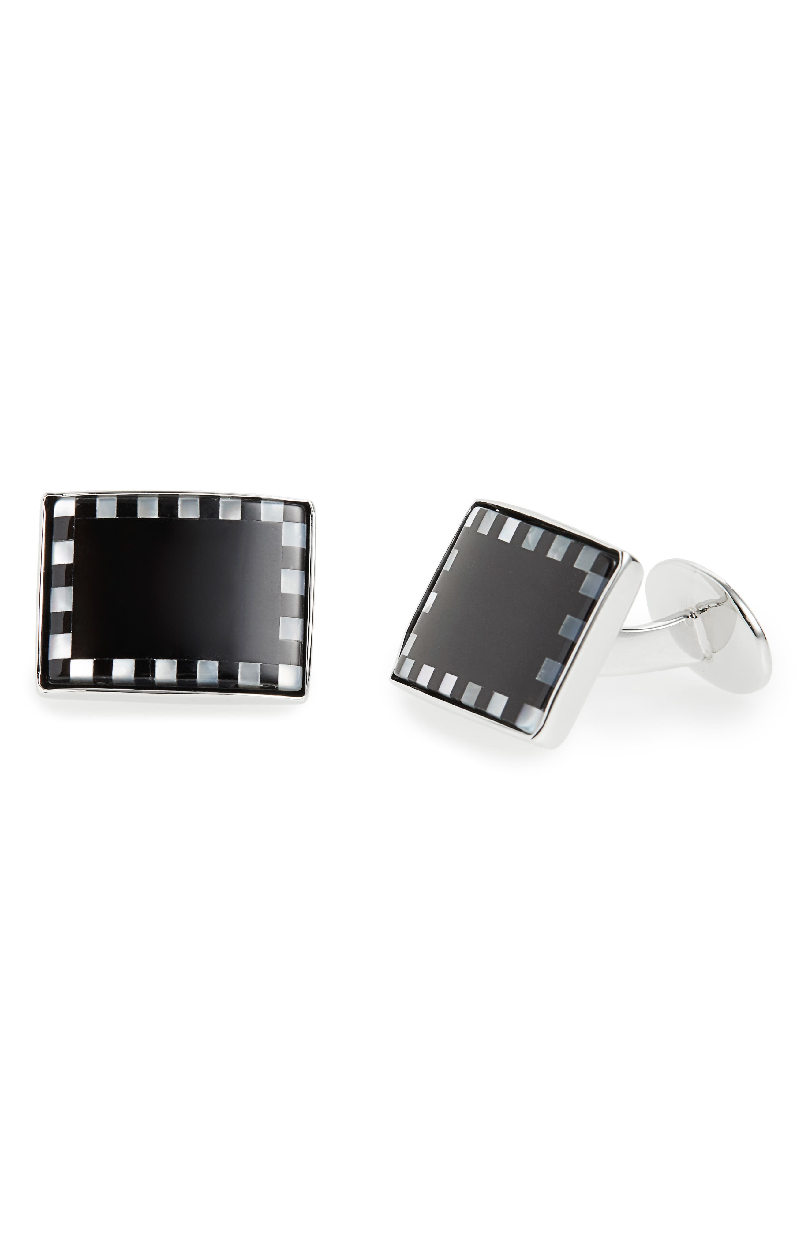 Sterling, Onyx & Mother-of-Pearl Cuff Links,                             Alternate thumbnail 2, color,                             001