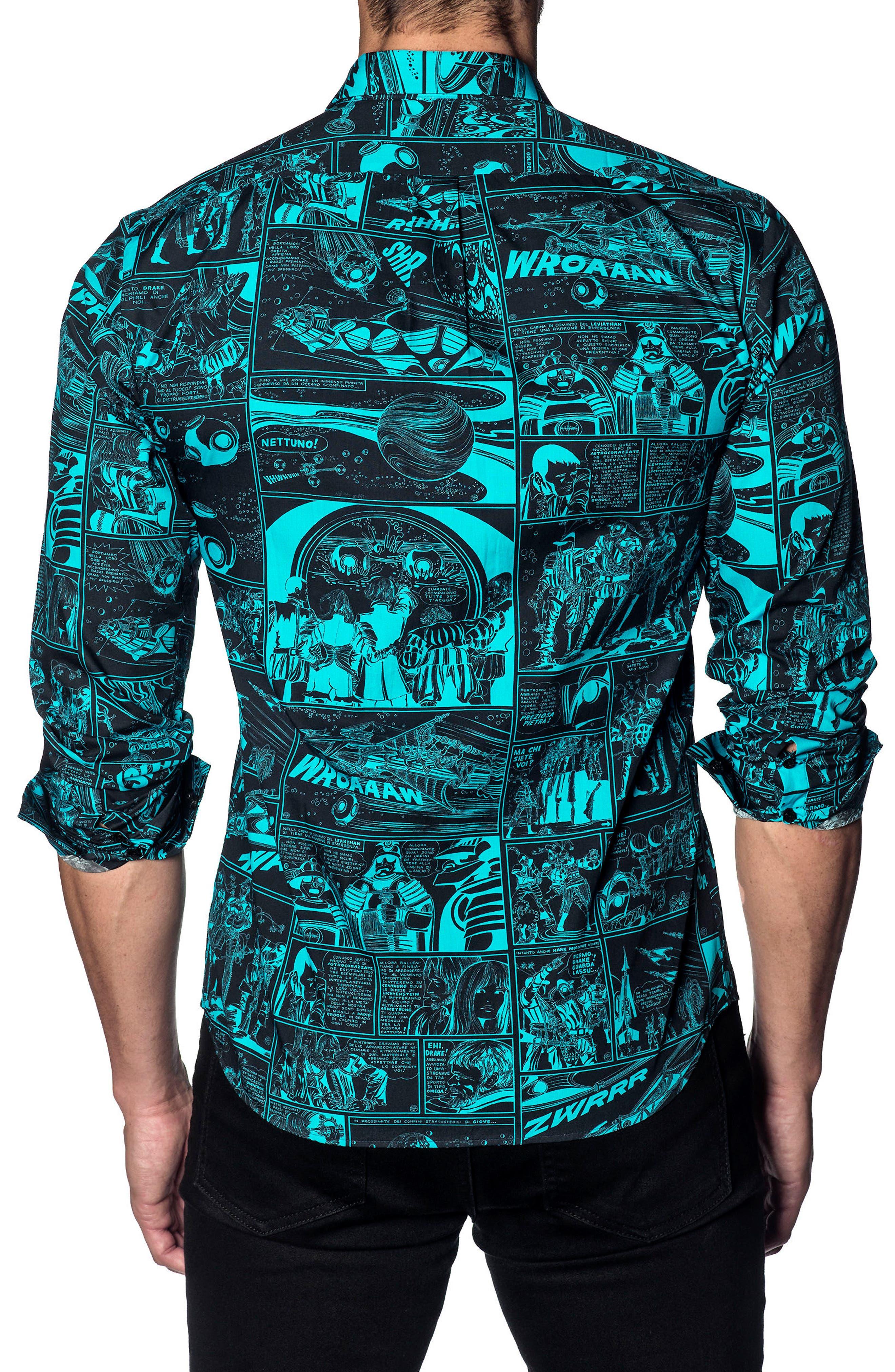 Trim Fit Sport Shirt,                             Alternate thumbnail 2, color,                             BLACK / TURQUOISE