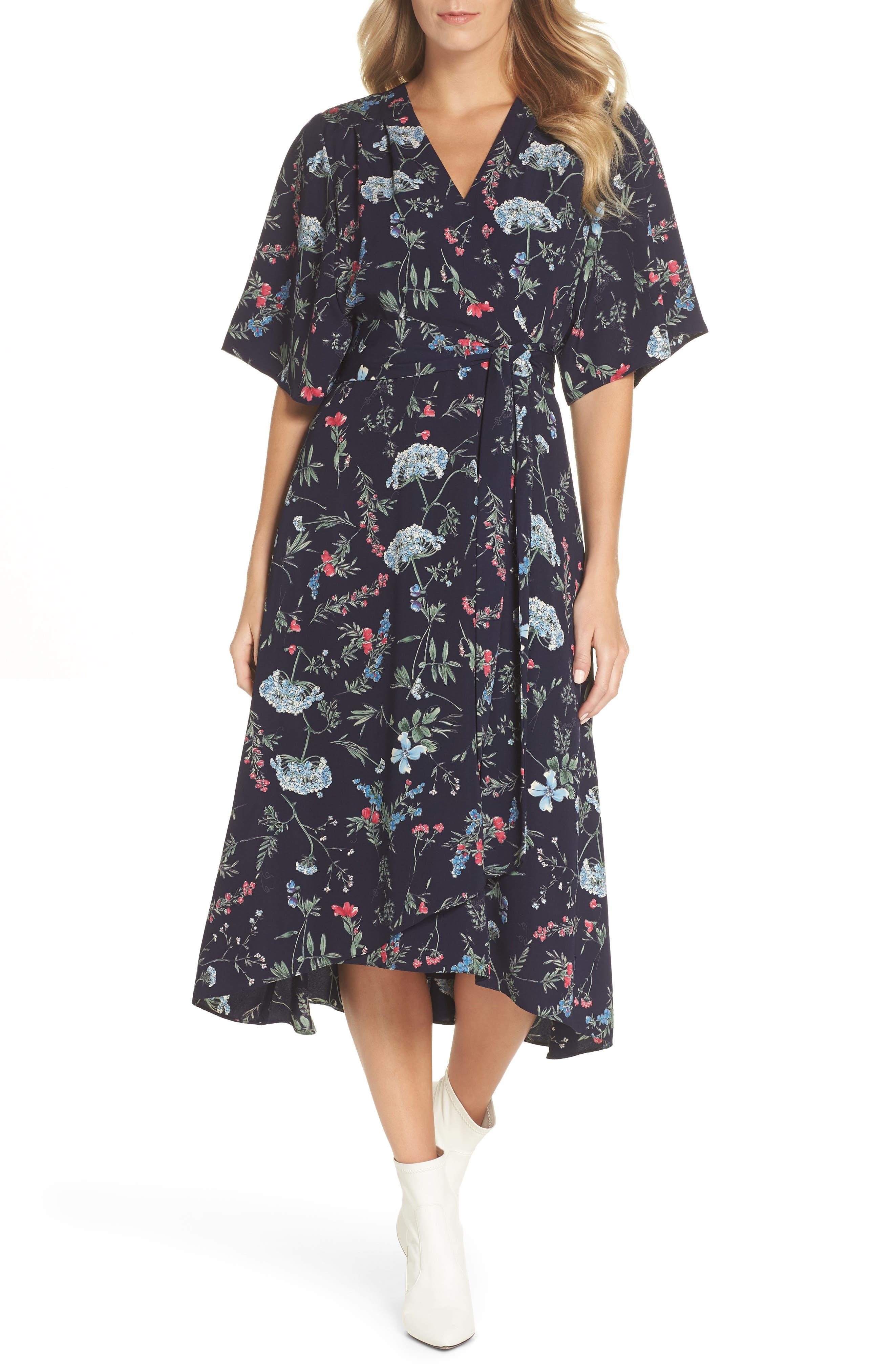 Floral Print Faux Wrap Midi Dress,                         Main,                         color, 600