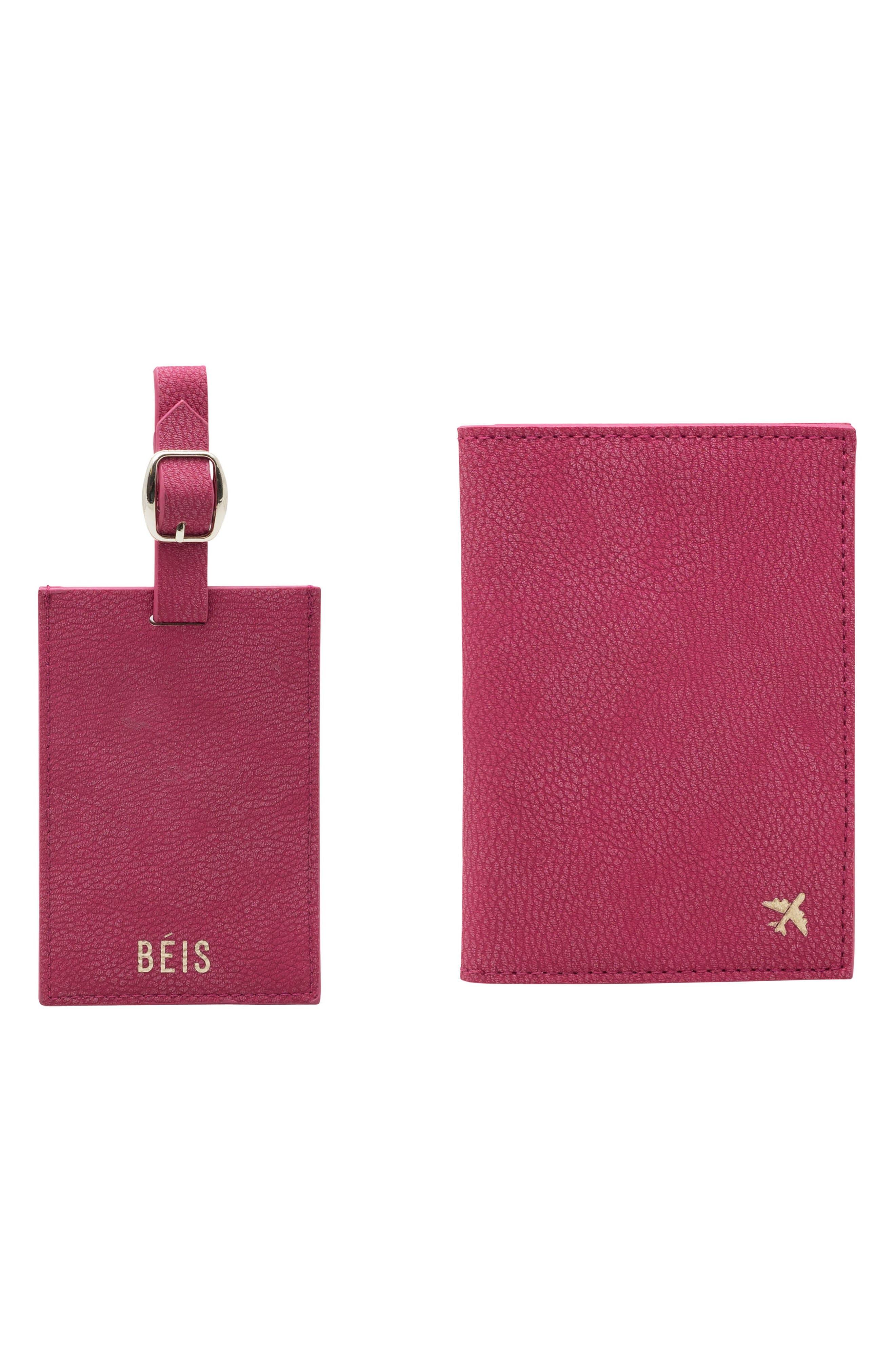 Travel Luggage Tag & Passport Holder Set,                         Main,                         color, MAGENTA