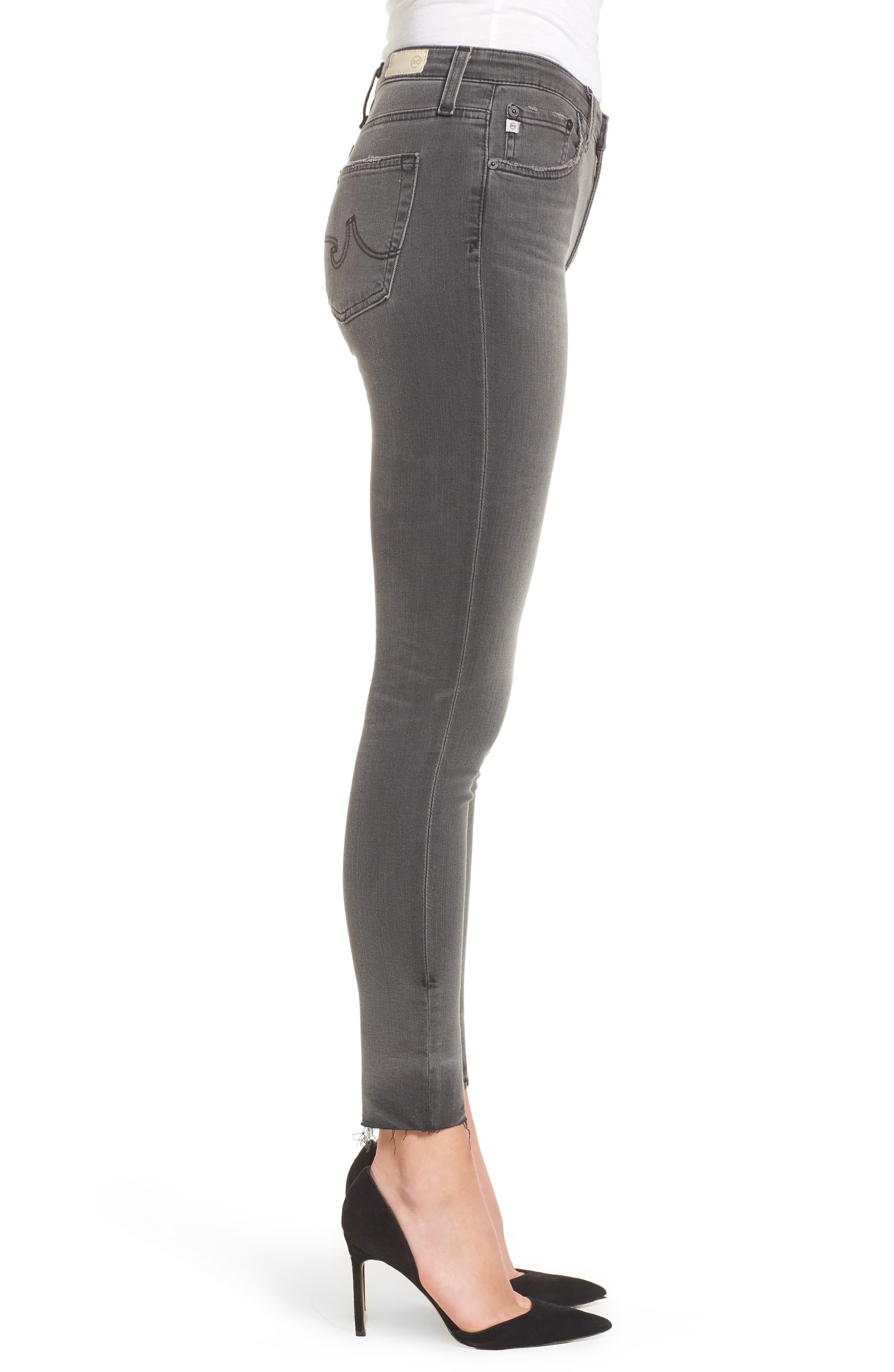The Farrah High Waist Raw Hem Skinny Jeans,                             Alternate thumbnail 3, color,                             001