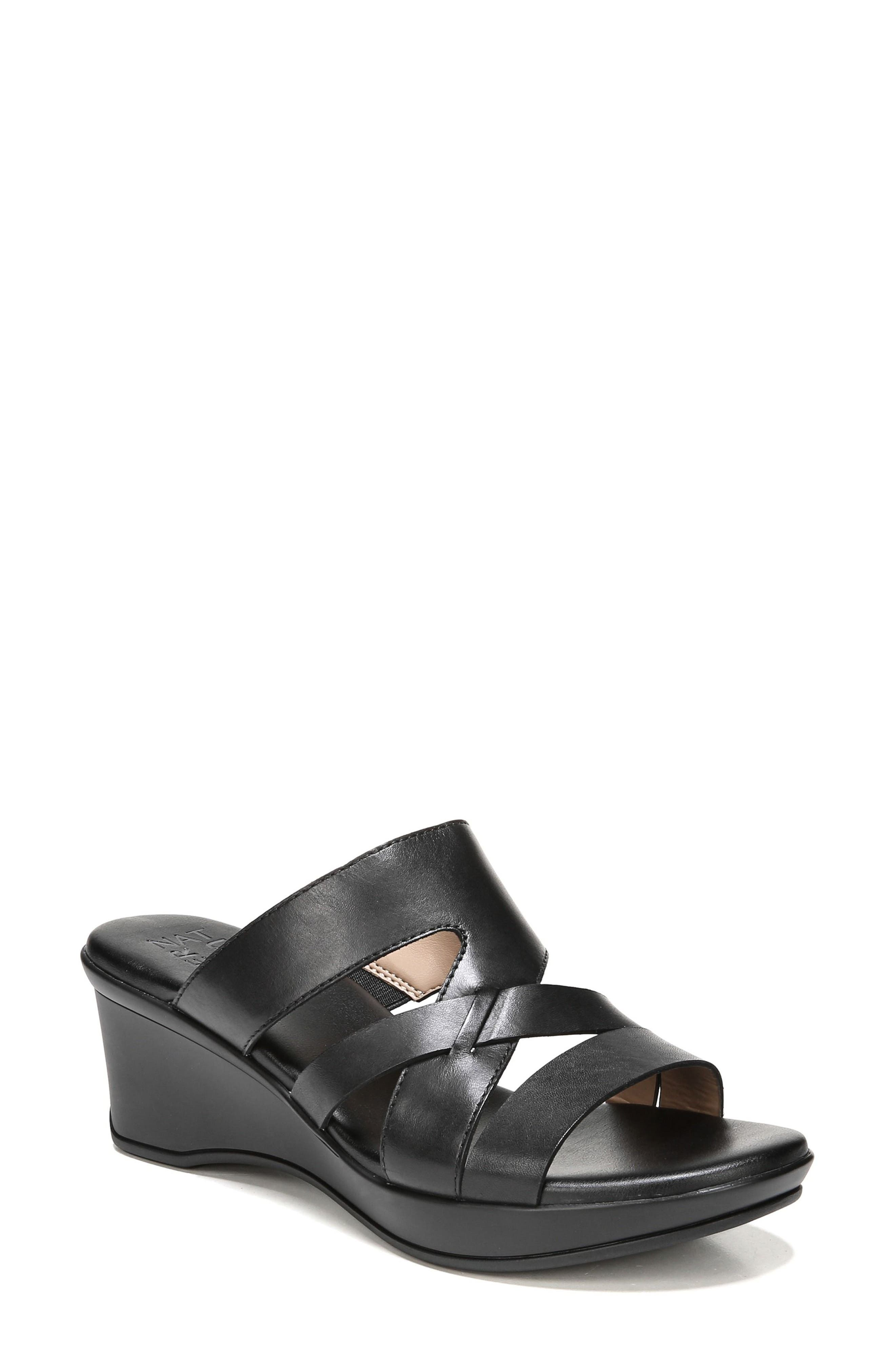 Vivy Wedge Sandal,                         Main,                         color, BLACK LEATHER