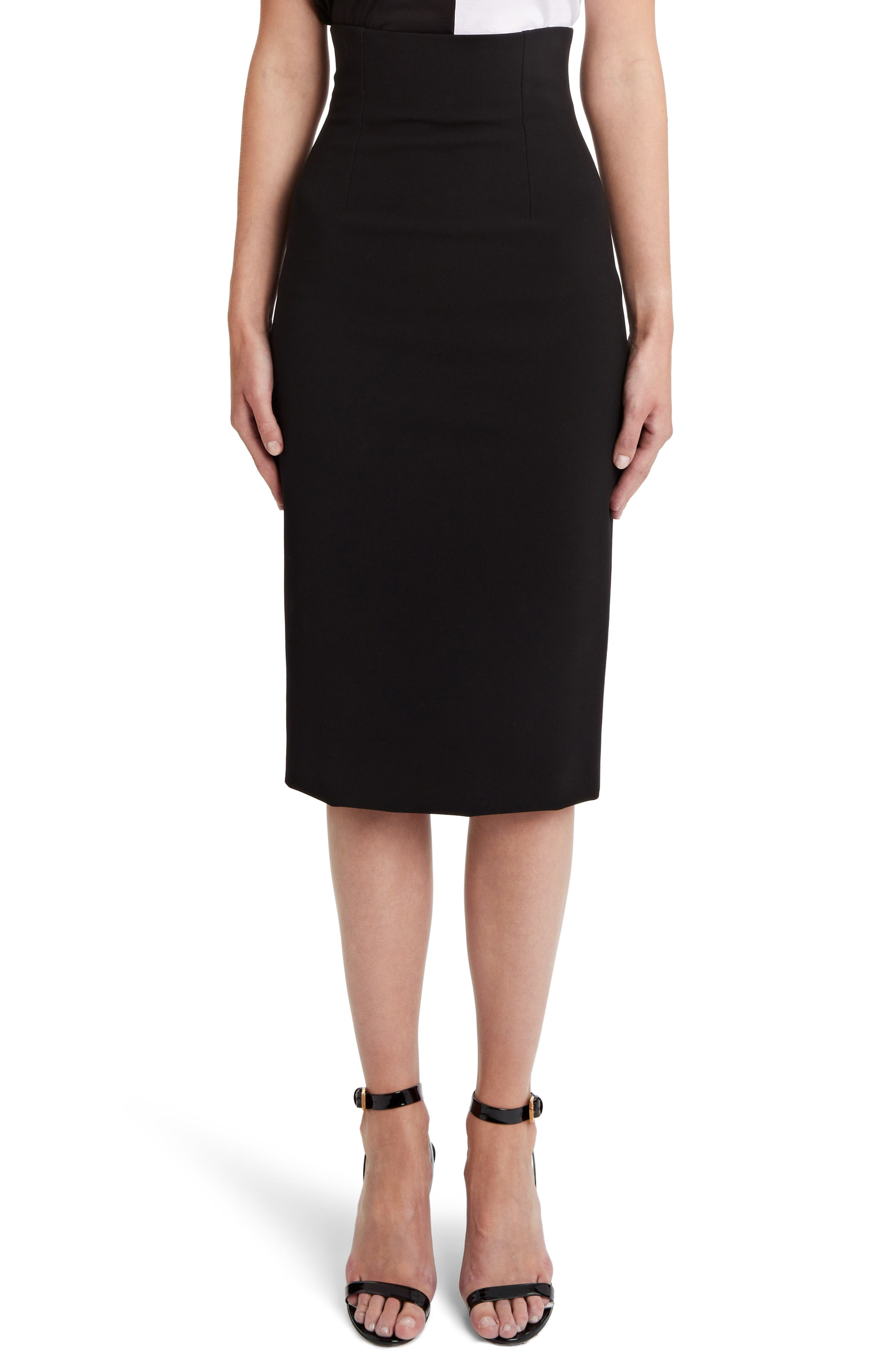 Pencil Skirt,                             Main thumbnail 1, color,                             BLACK