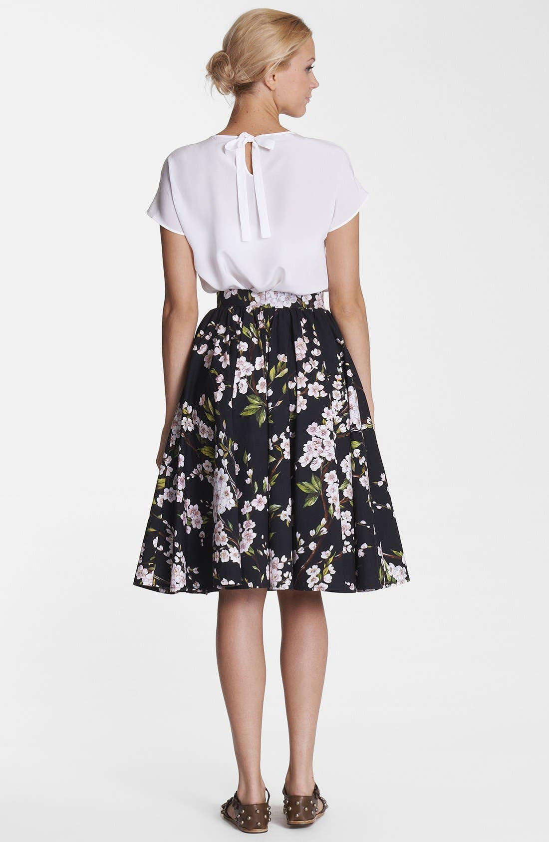 Print A-Line Cotton Skirt,                             Alternate thumbnail 2, color,                             001