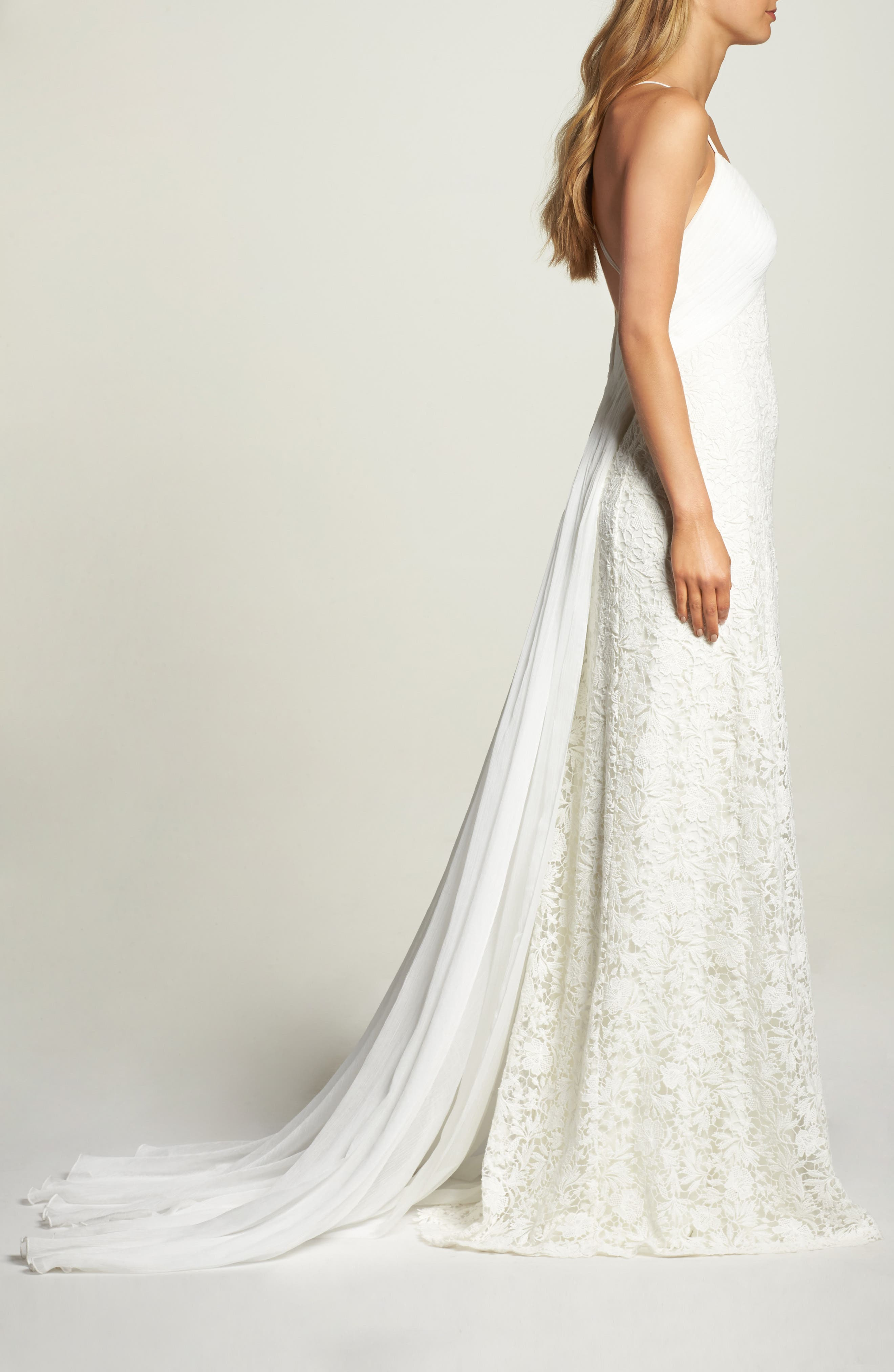 Pleat Back Lace Gown,                             Alternate thumbnail 3, color,                             IVORY