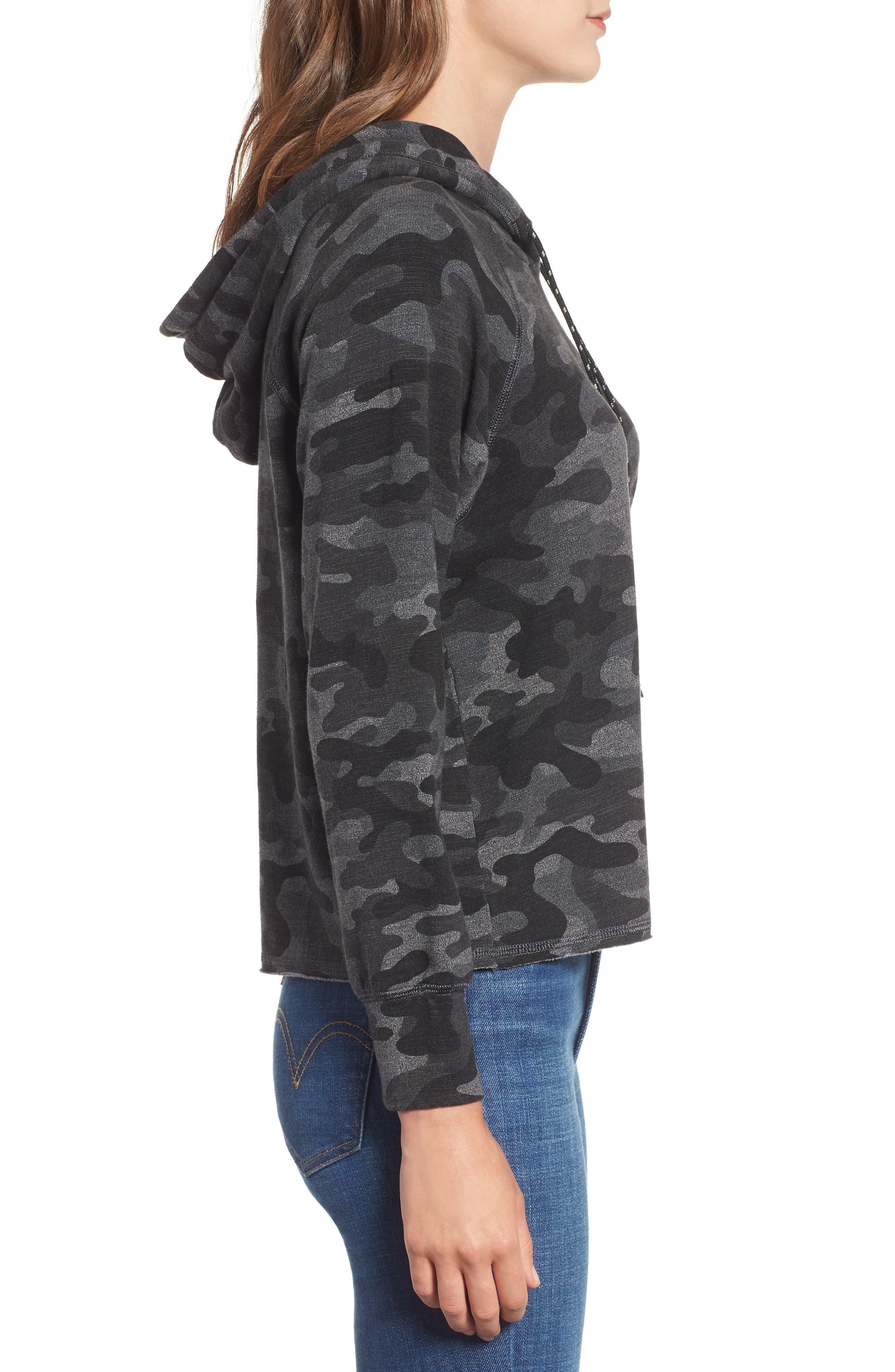 Camo Crop Hoodie,                             Alternate thumbnail 3, color,                             CHARCOAL