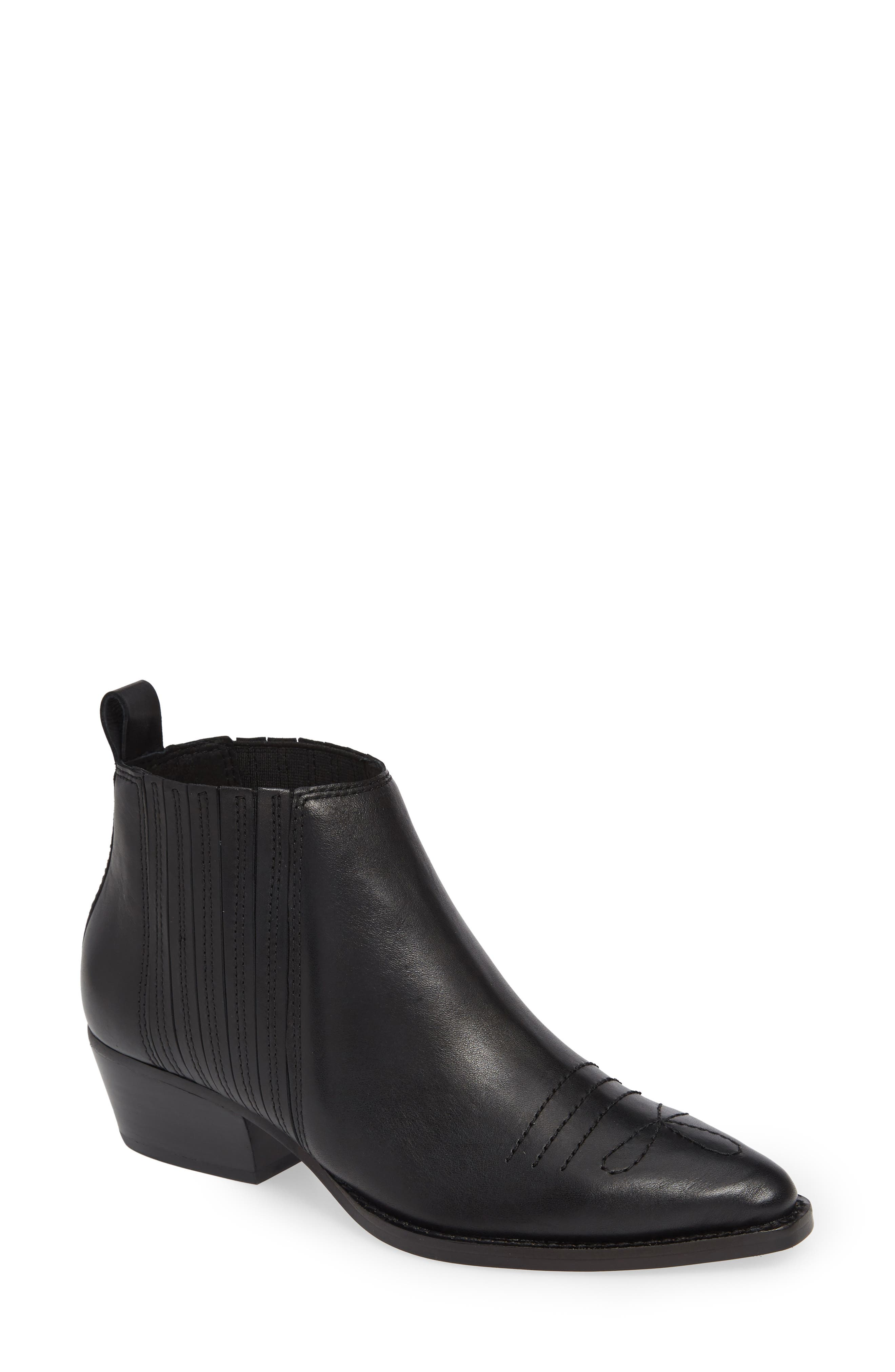 Texas Bootie,                             Main thumbnail 1, color,                             BLACK LEATHER
