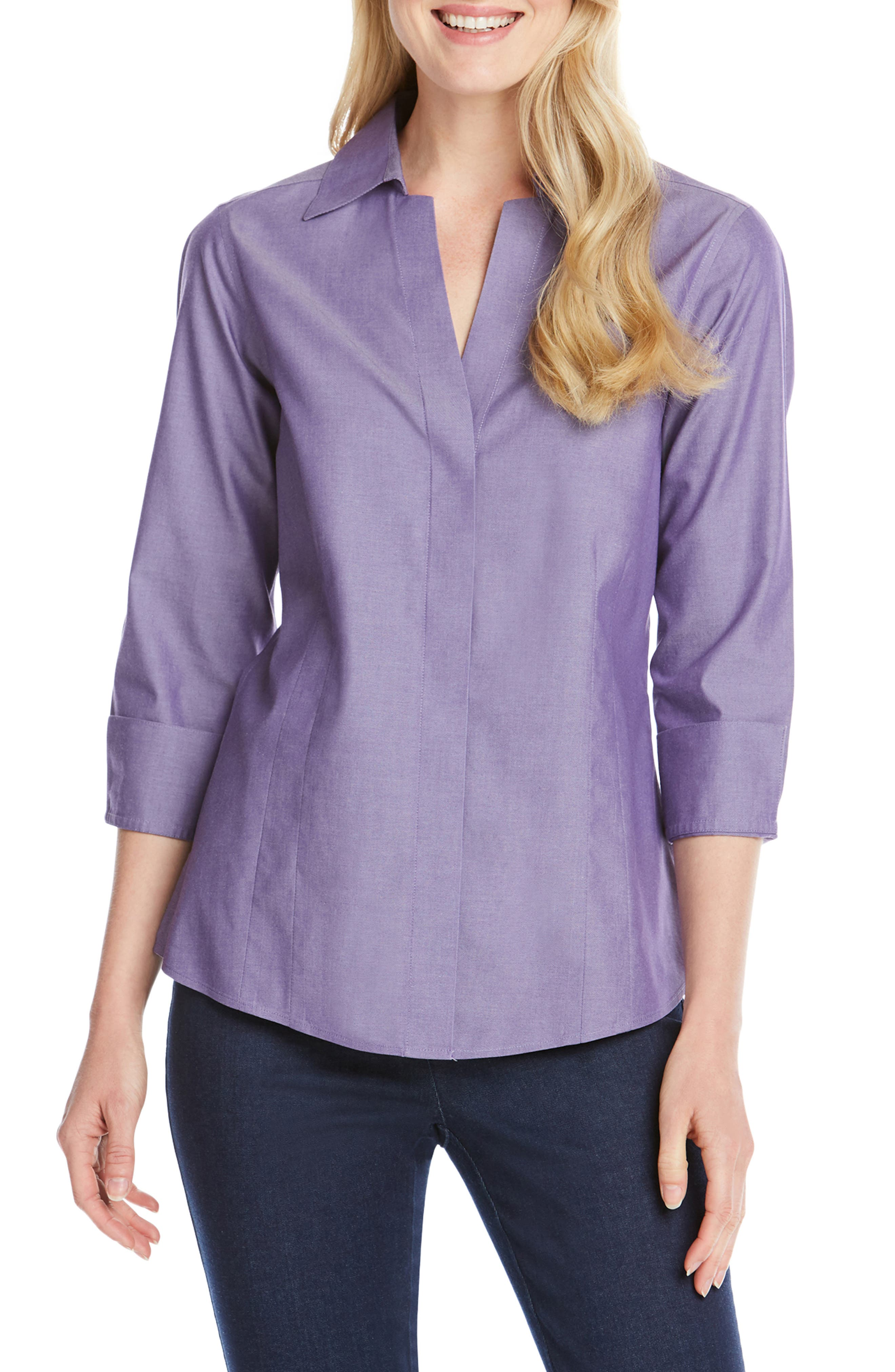FOXCROFT Concealed Button-Down Top in Perfect Plum
