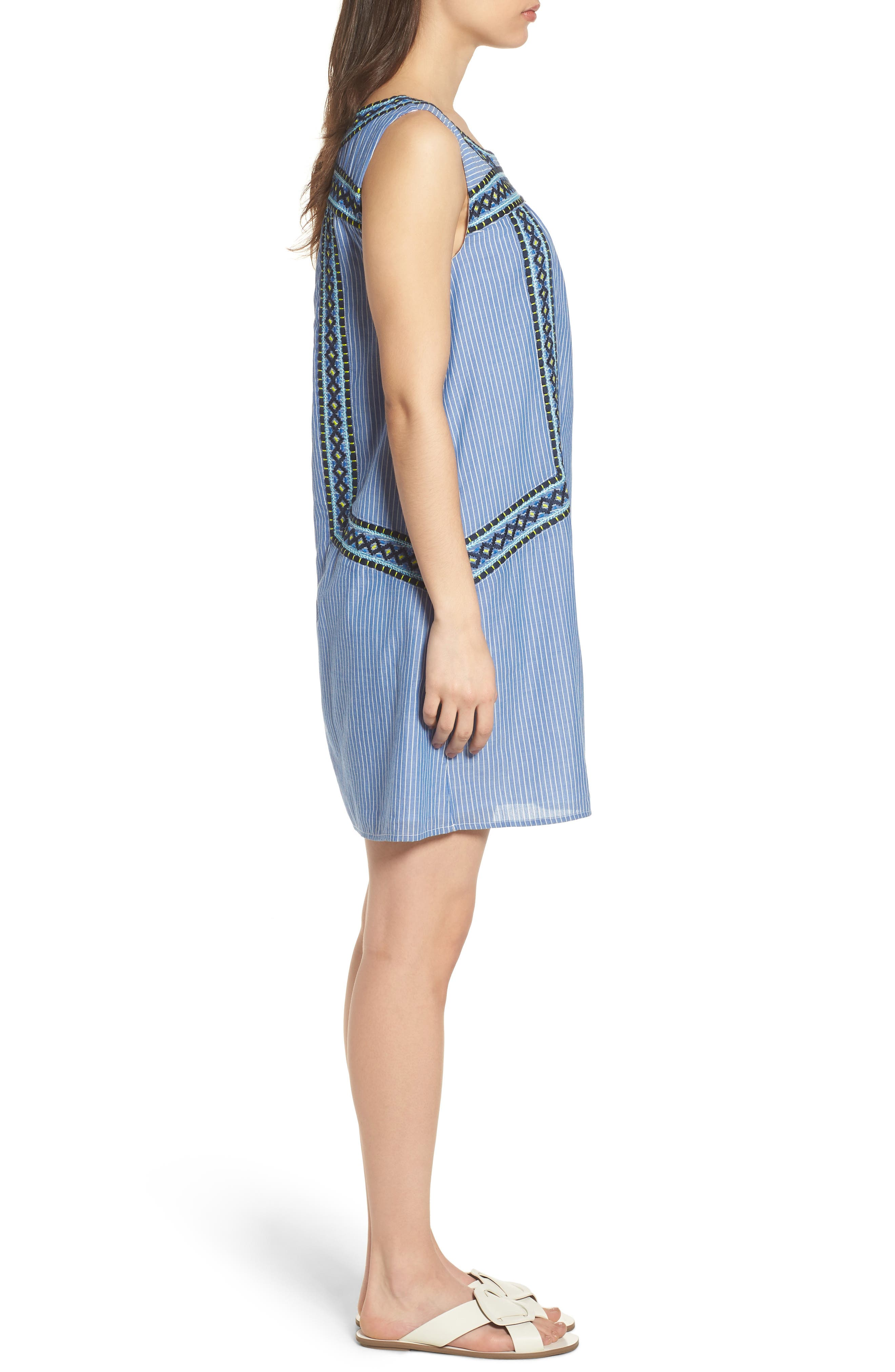Embroidered Stripe Cotton Swing Dress,                             Alternate thumbnail 3, color,