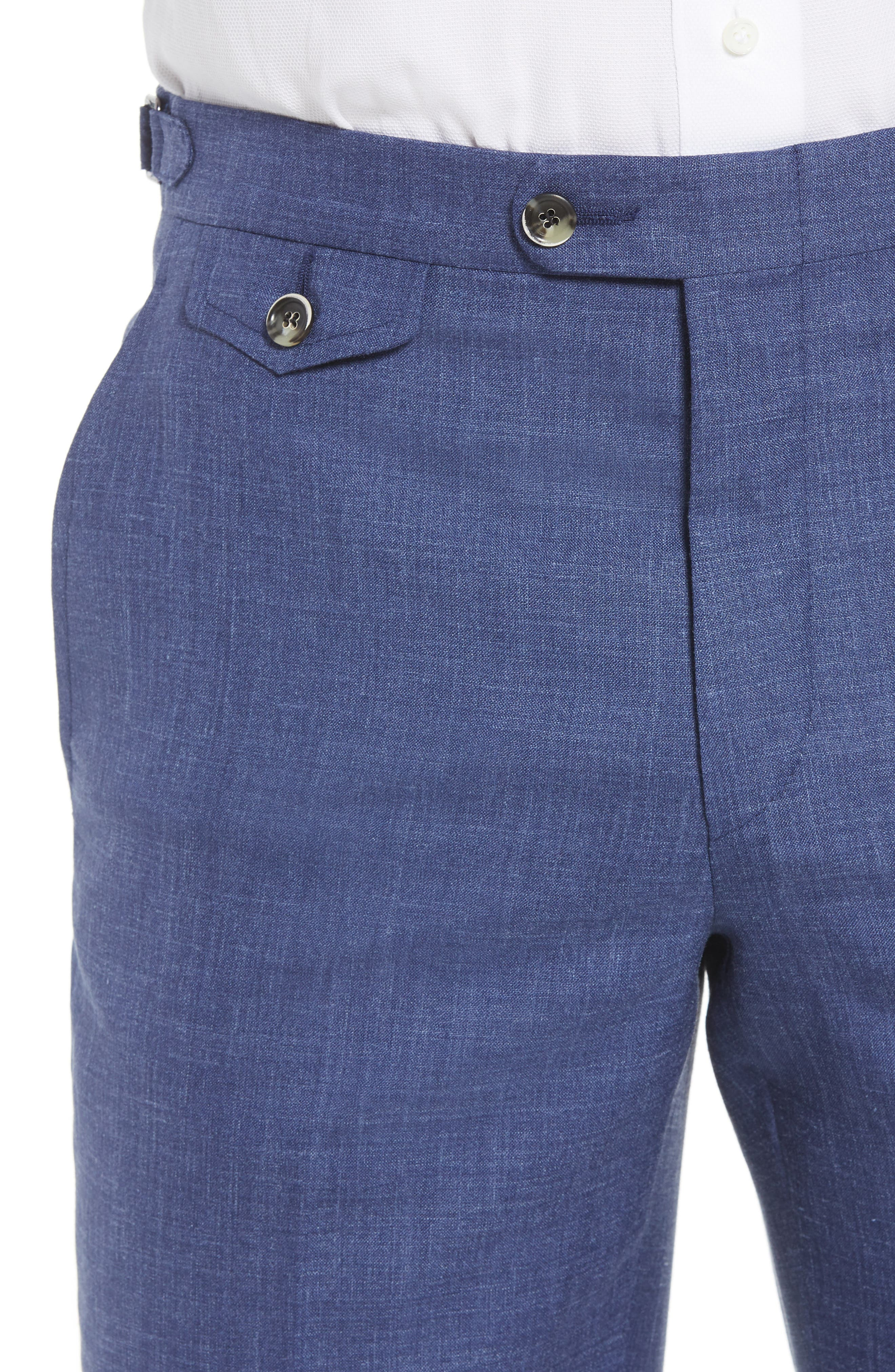 B Fit Flat Front Solid Wool Blend Trousers,                             Alternate thumbnail 4, color,                             BLUE SOLID