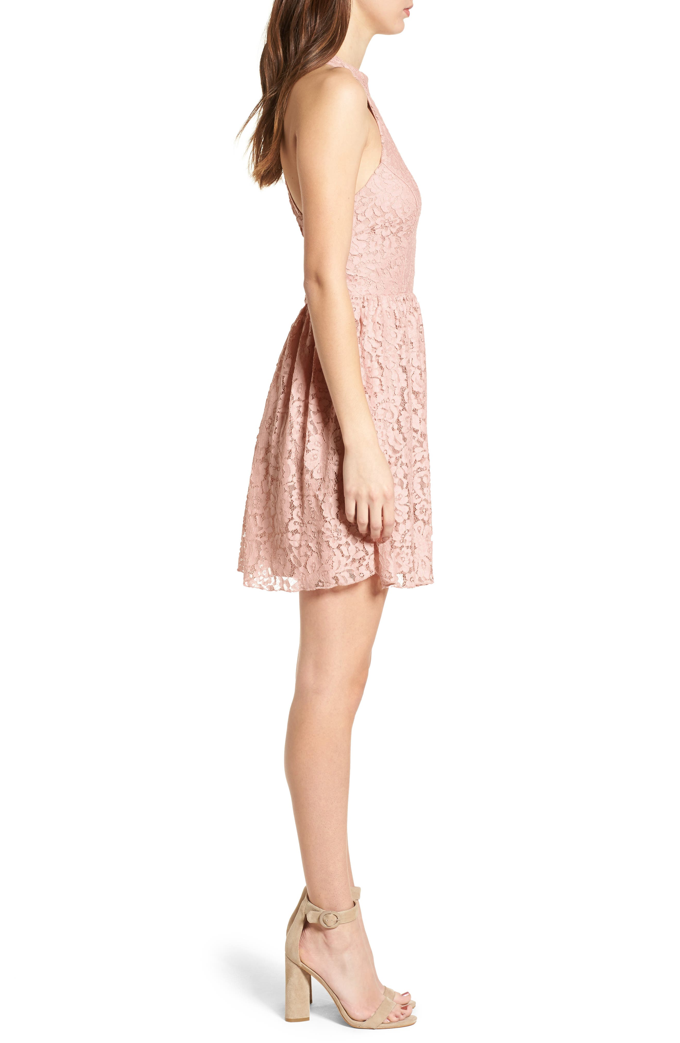 Gigi Lace Fit & Flare Dress,                             Alternate thumbnail 5, color,