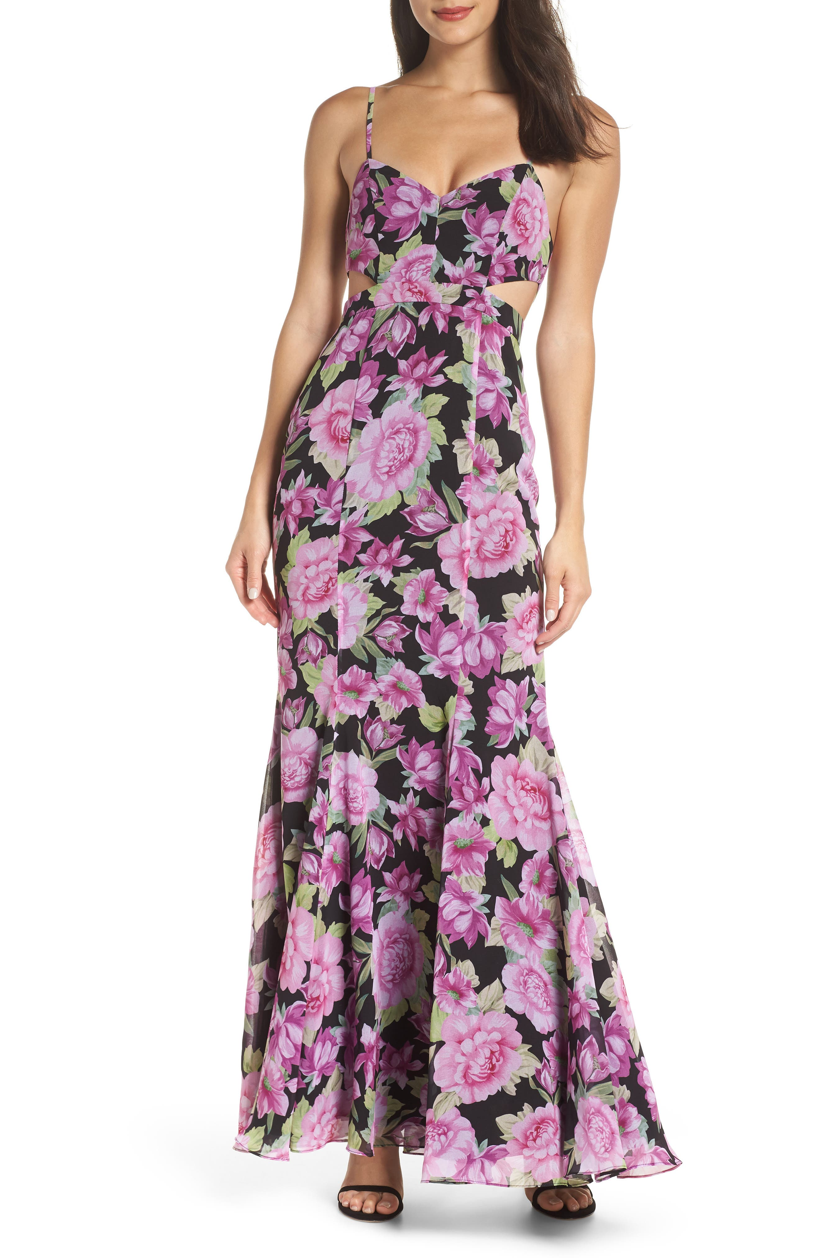 FAME AND PARTNERS The Sienne Cutout Waist Gown in Wallflower Print