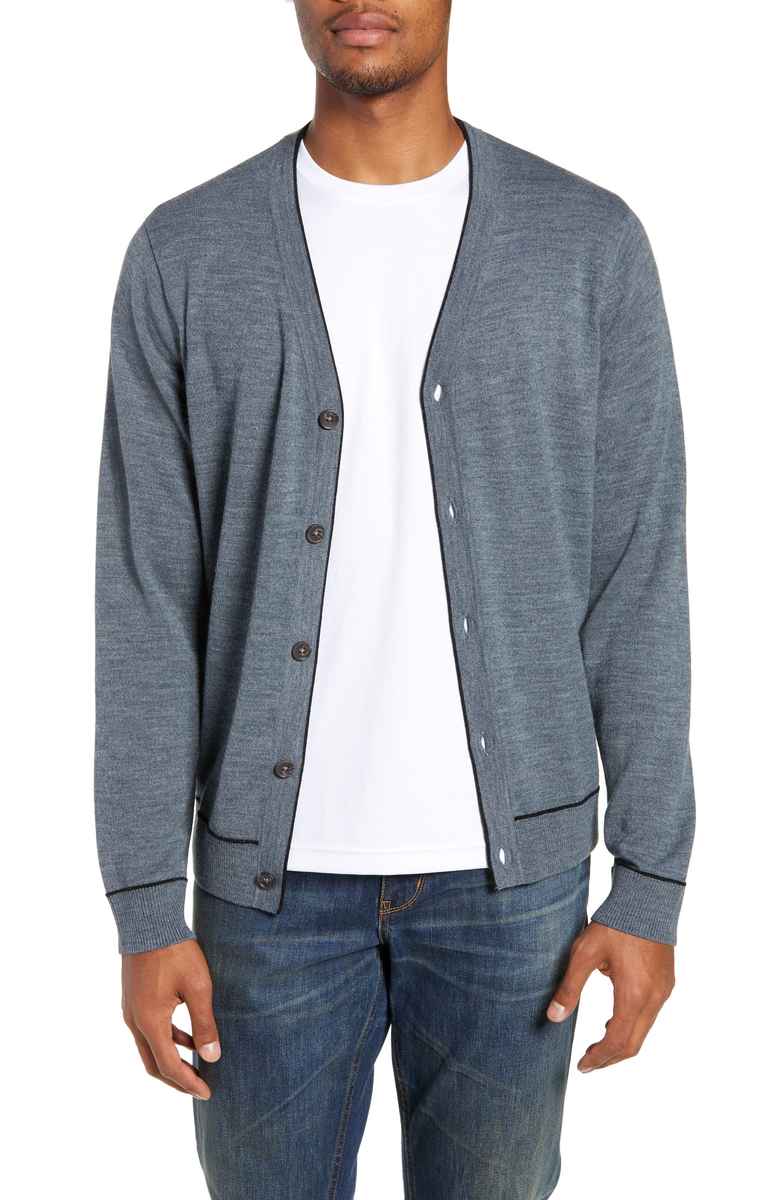 Nordstrom Shop Regular Fit Tipped Cardigan, Grey