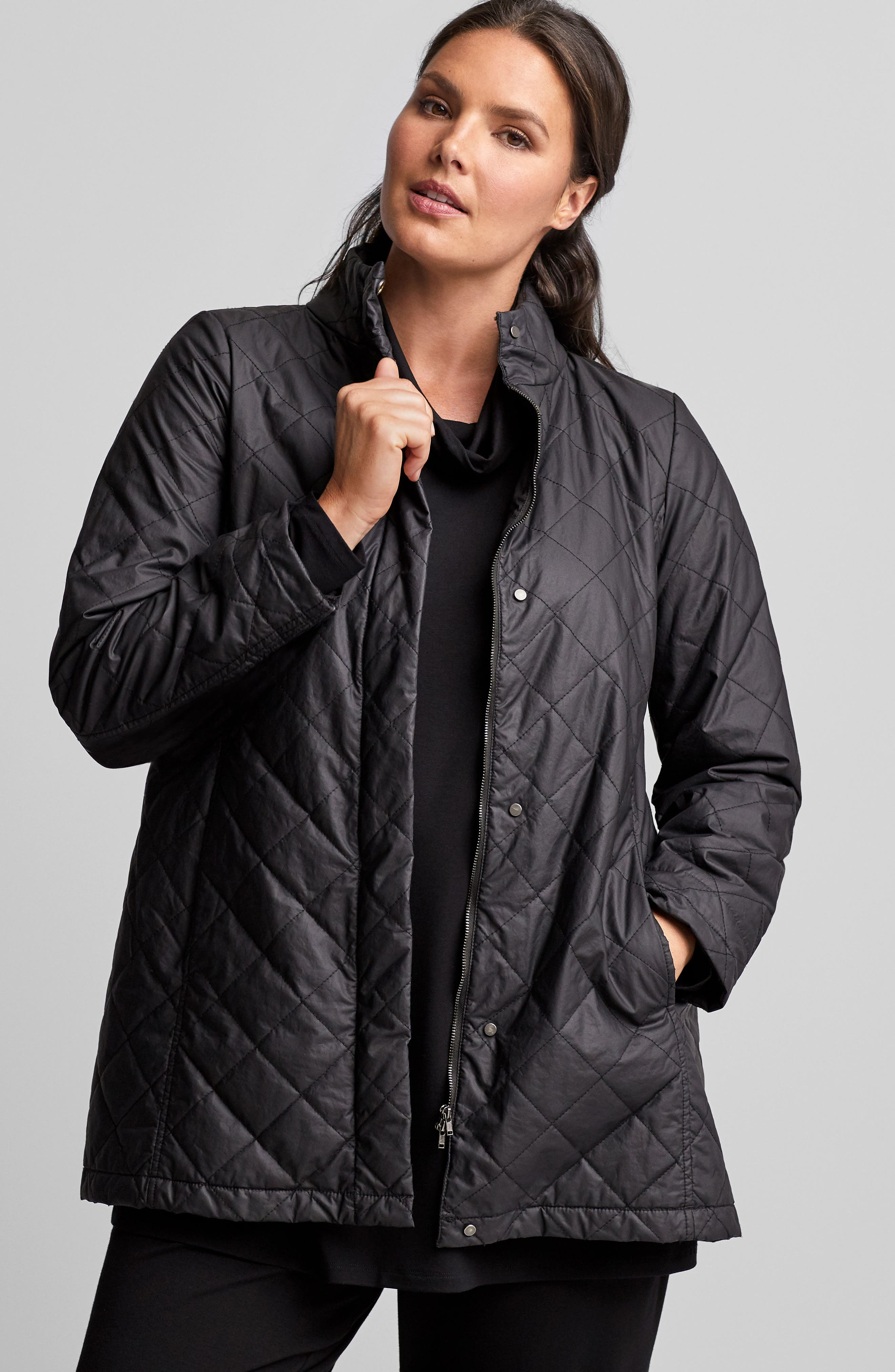 Quilted Jacket,                             Alternate thumbnail 7, color,                             001