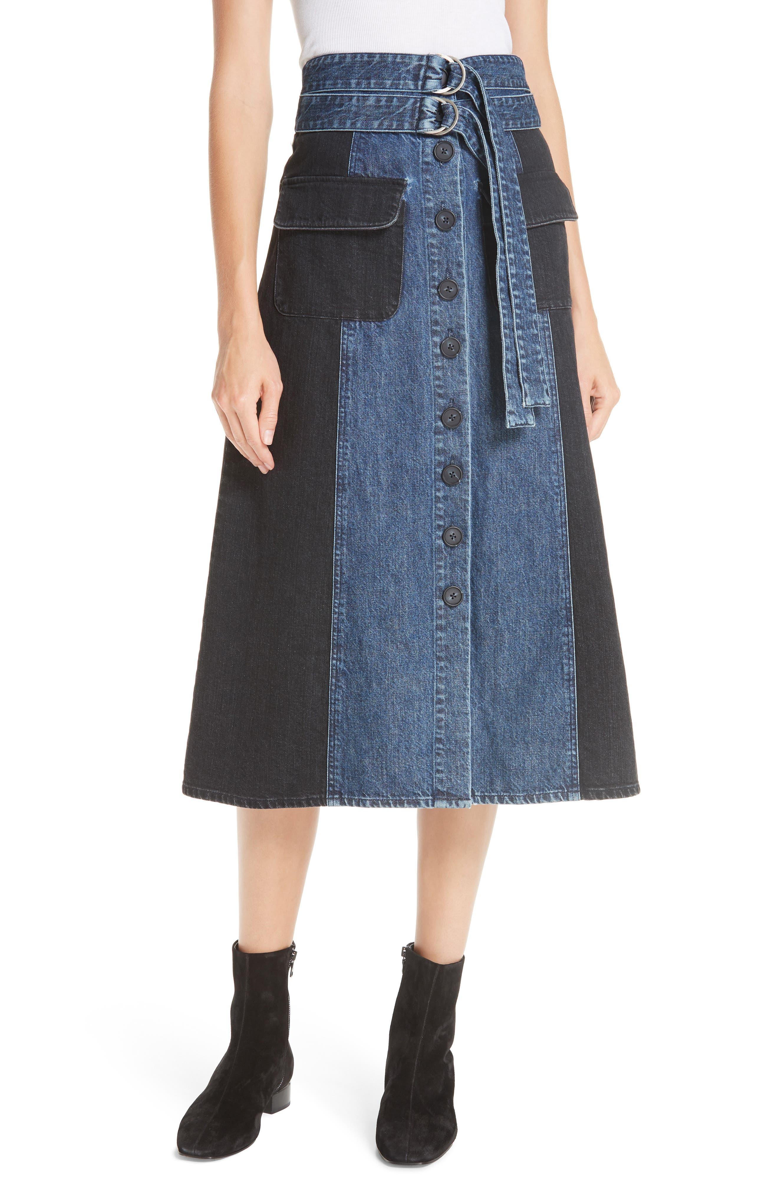 Bleu Bicolor Denim Midi Skirt,                             Main thumbnail 1, color,                             INDIGO/ BLACK