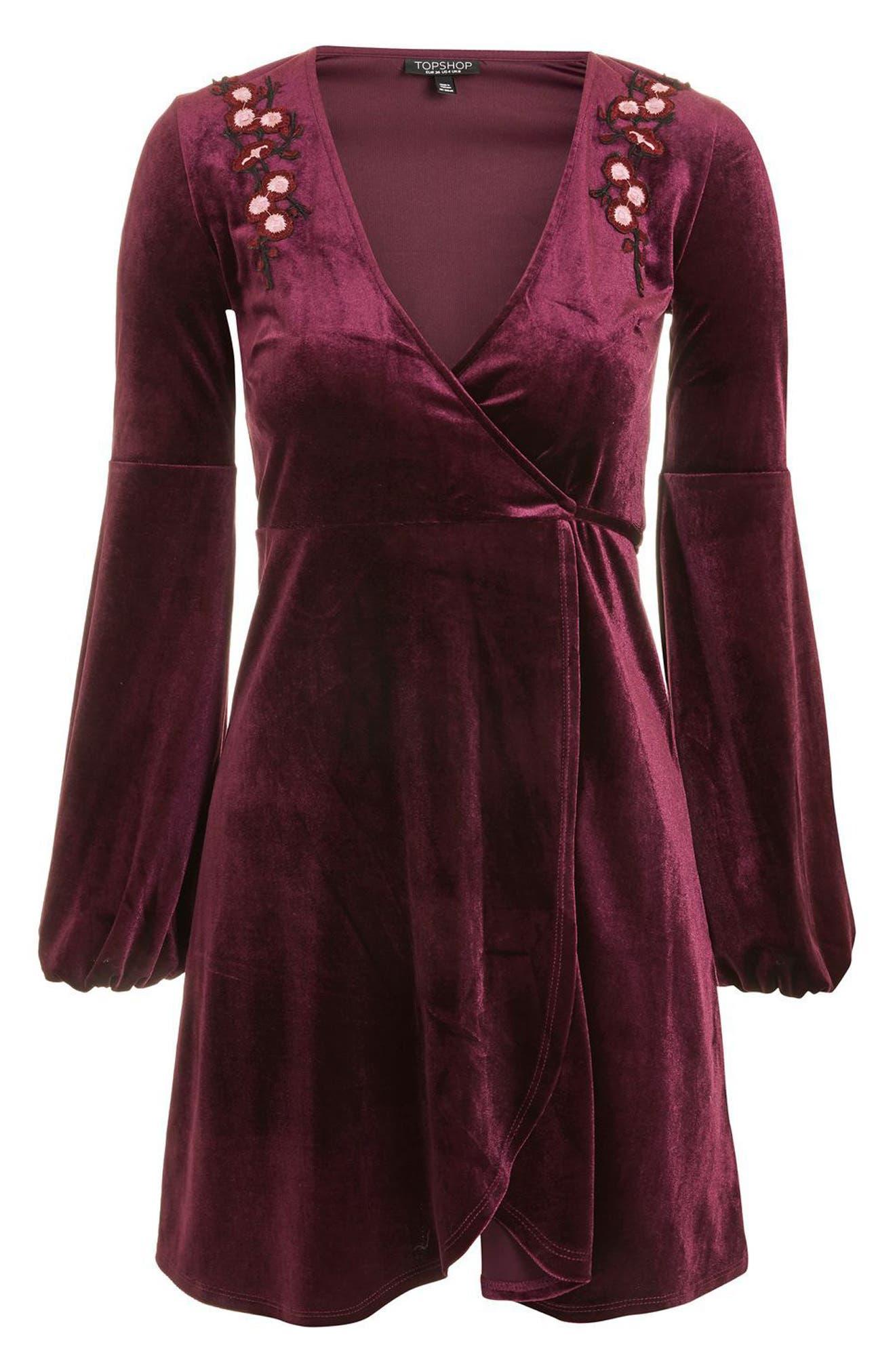 Embroidered Velvet Wrap Dress,                             Alternate thumbnail 3, color,                             930