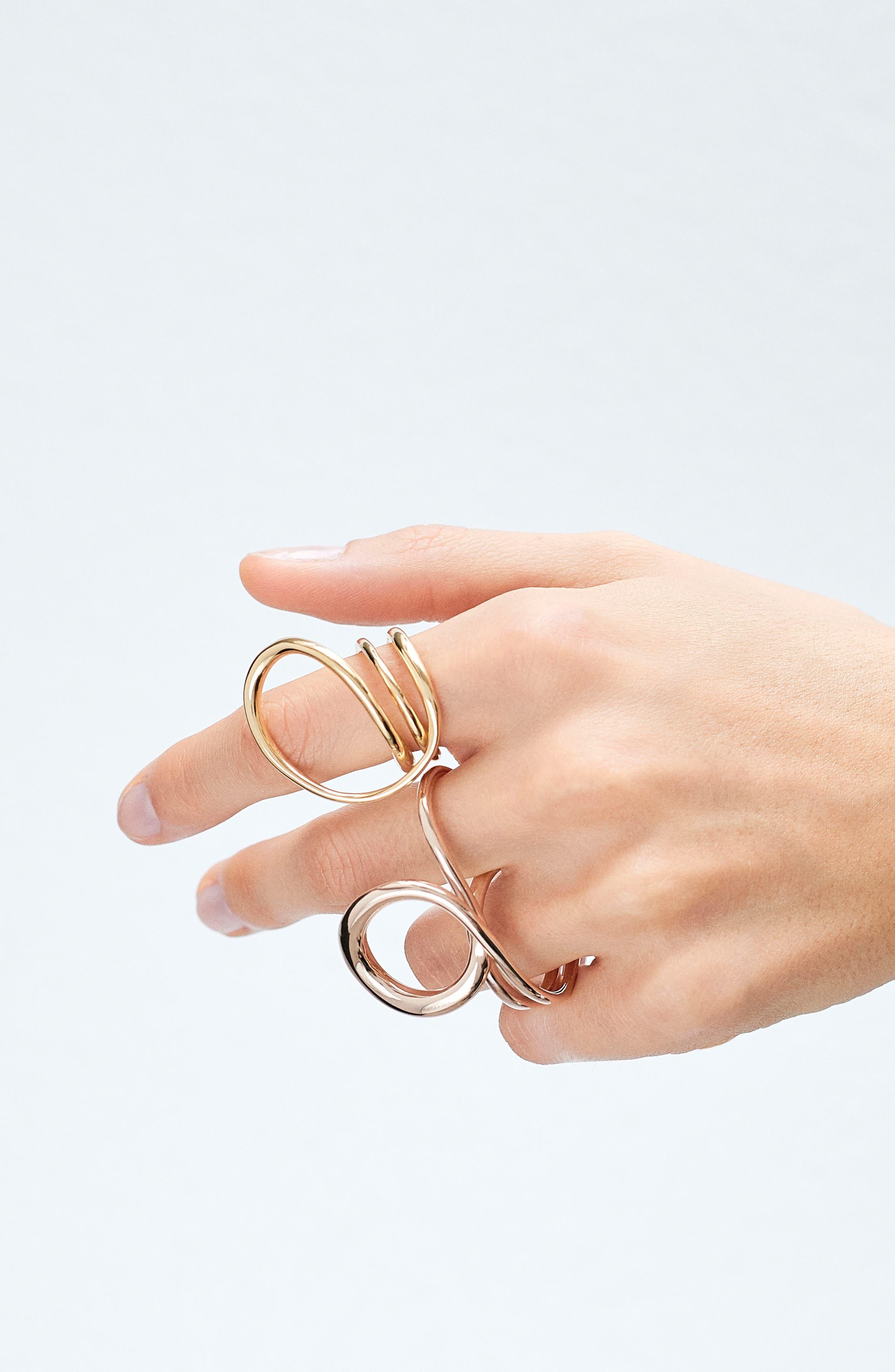 'Gamma Trip' Vermeil Two-Finger Ring,                             Alternate thumbnail 2, color,                             PINK VERMEIL