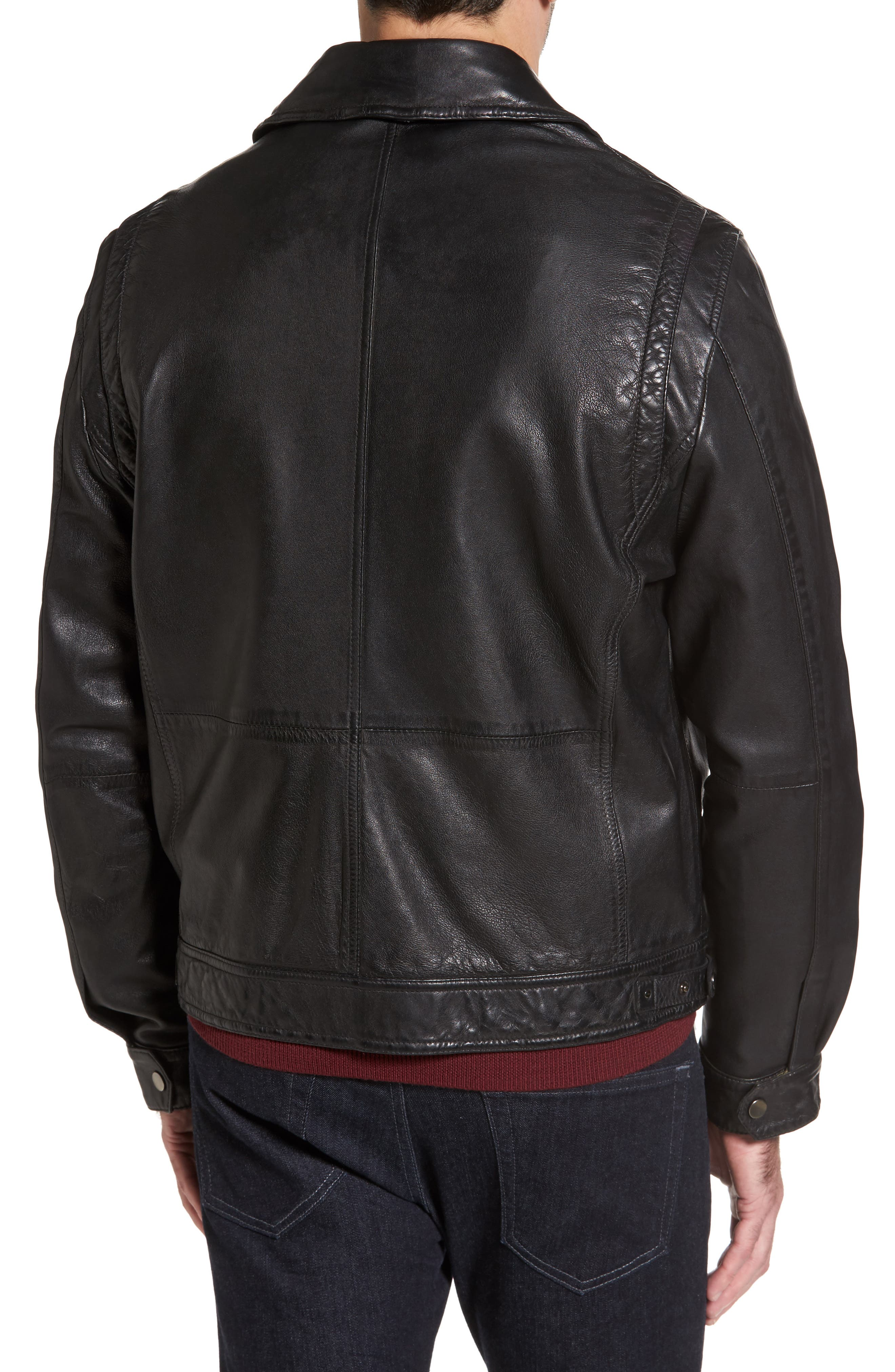 Contemporary Fit Washed Leather Jacket,                             Alternate thumbnail 2, color,                             001