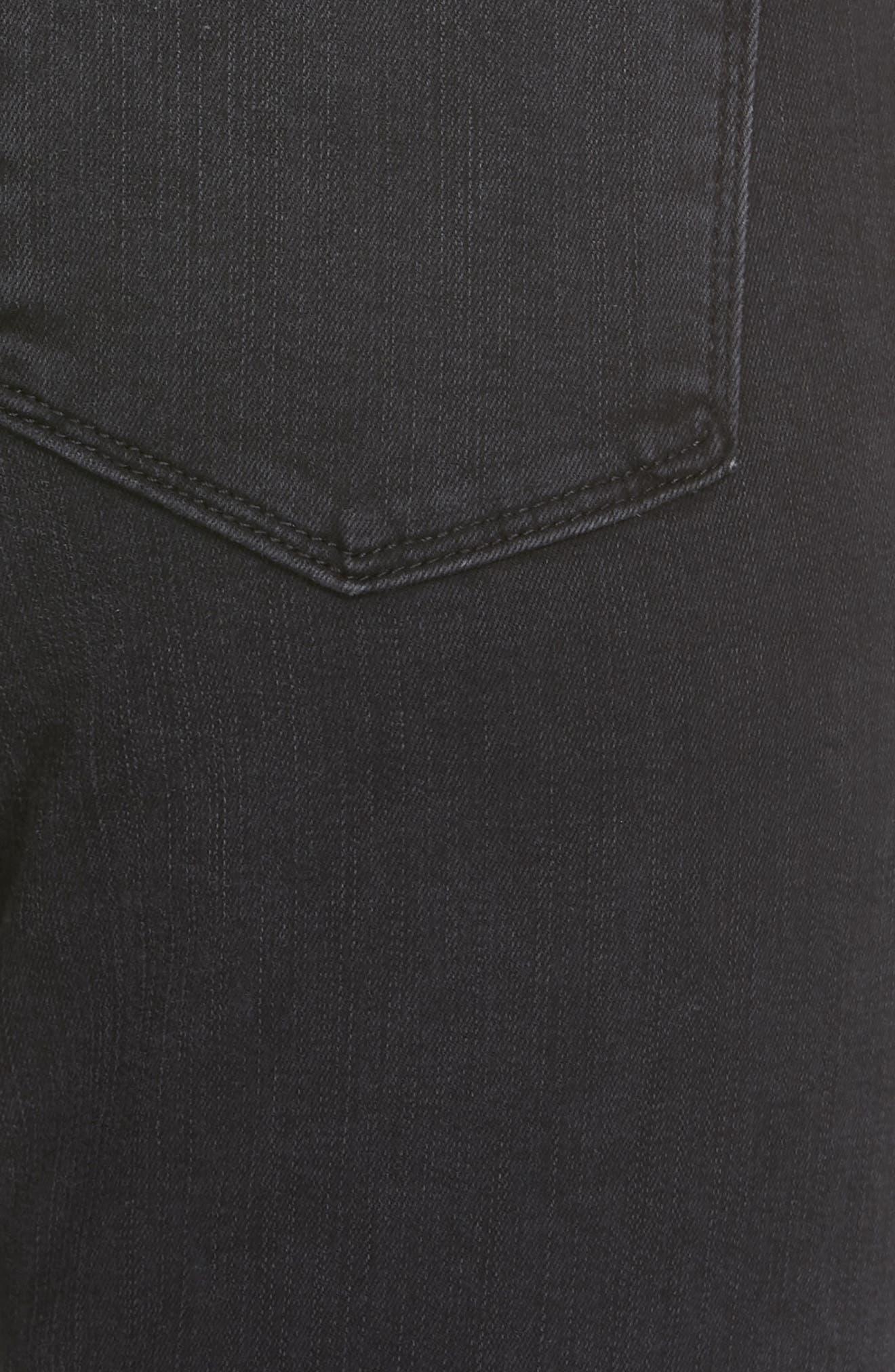 Le Crop Mini Boot Shredded Hem Jeans,                             Alternate thumbnail 5, color,                             001