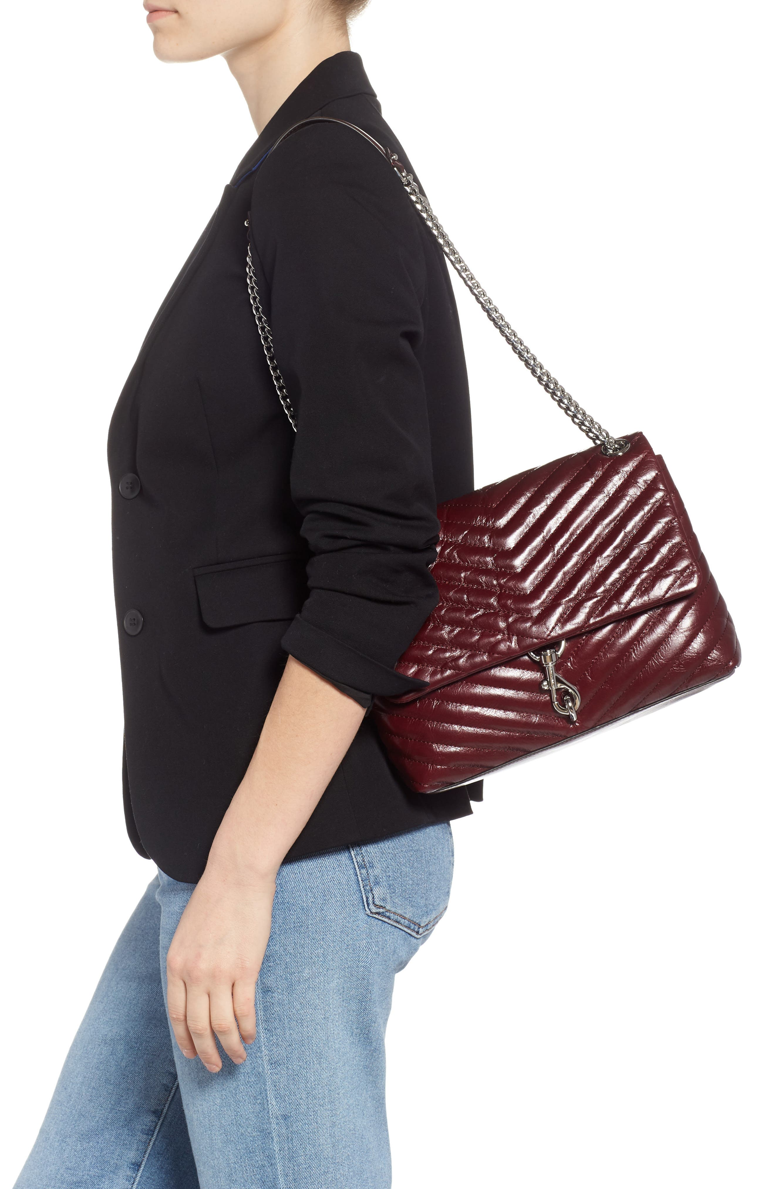 Edie Flap Front Leather Shoulder Bag,                             Alternate thumbnail 2, color,                             BORDEAUX
