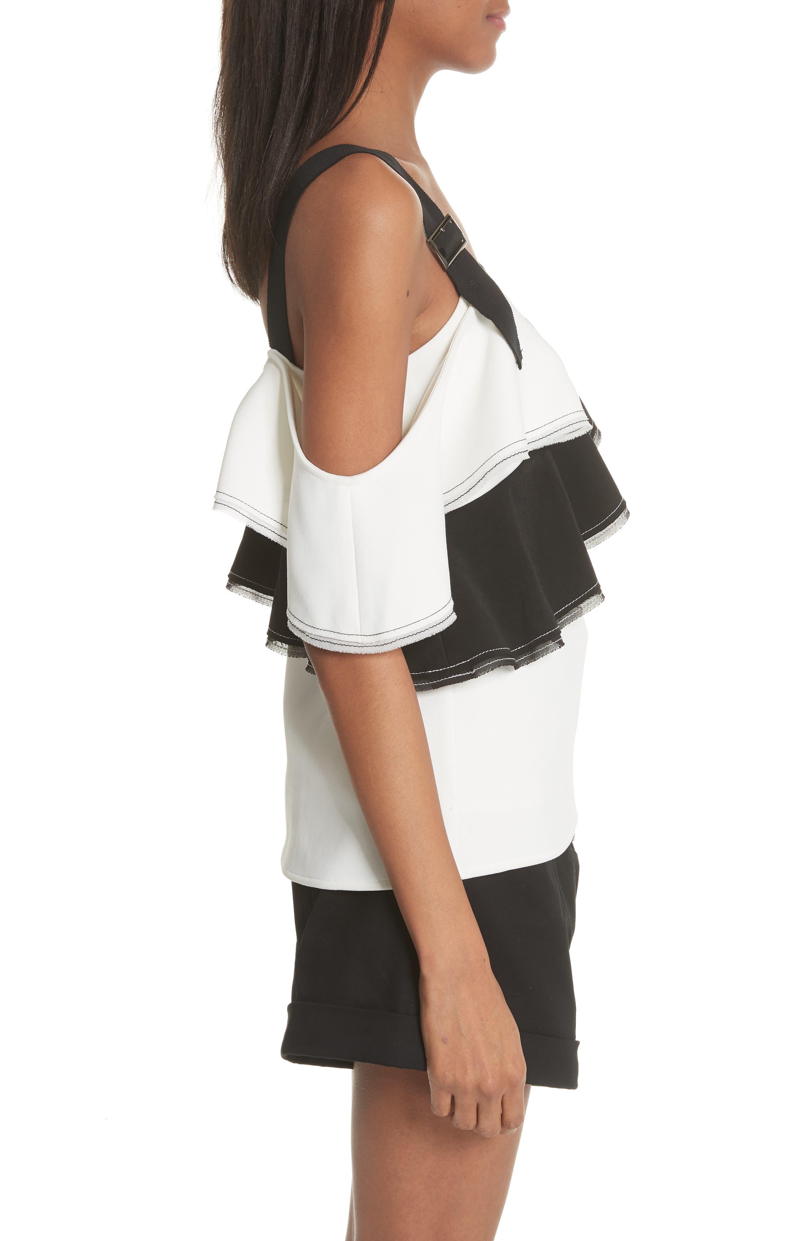 Harness Strap Cold Shoulder Blouse,                             Alternate thumbnail 3, color,                             BLACK/ WHITE