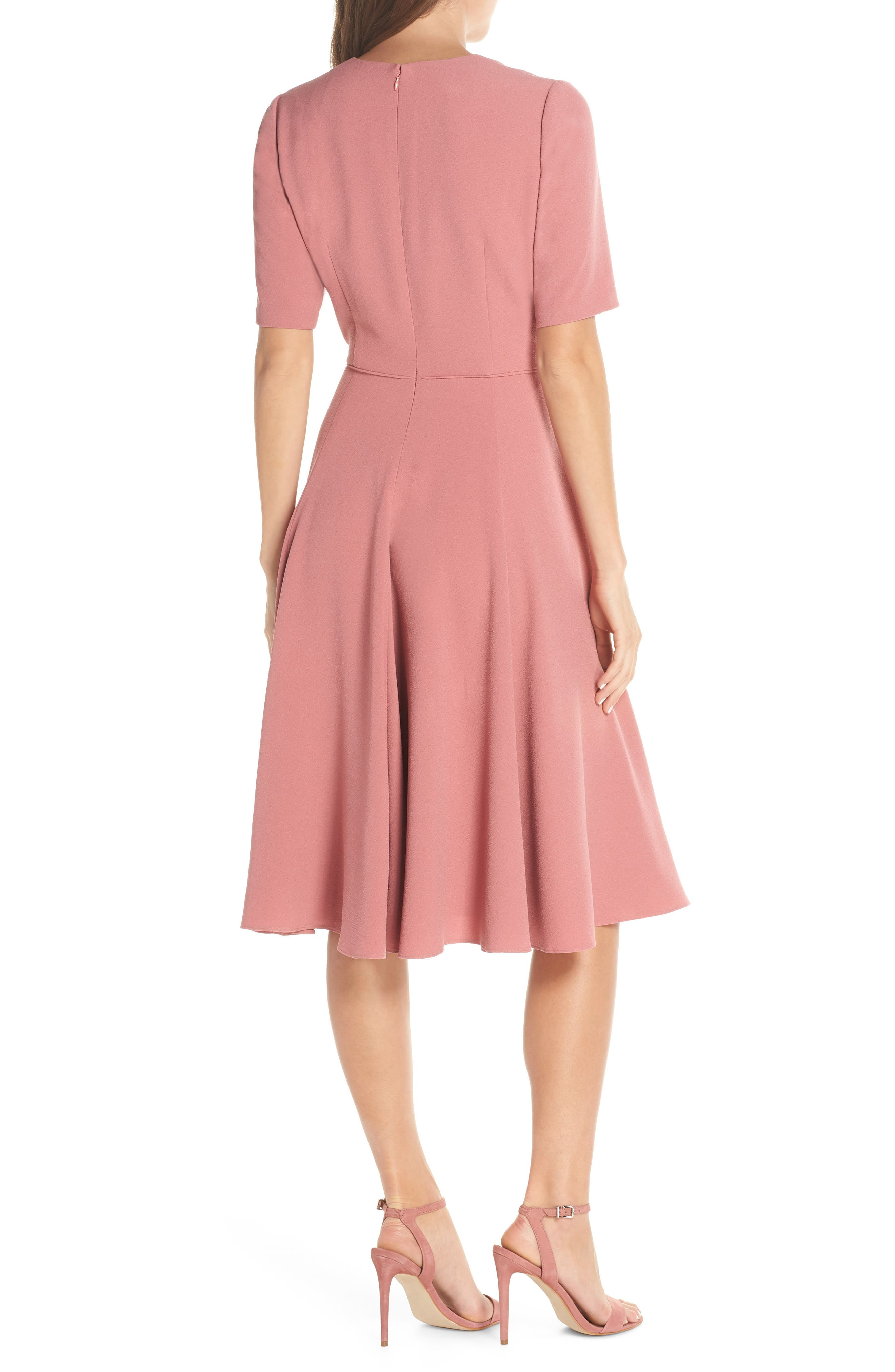 Edith City Crepe Fit & Flare Midi Dress,                             Alternate thumbnail 2, color,                             UPTOWN PINK