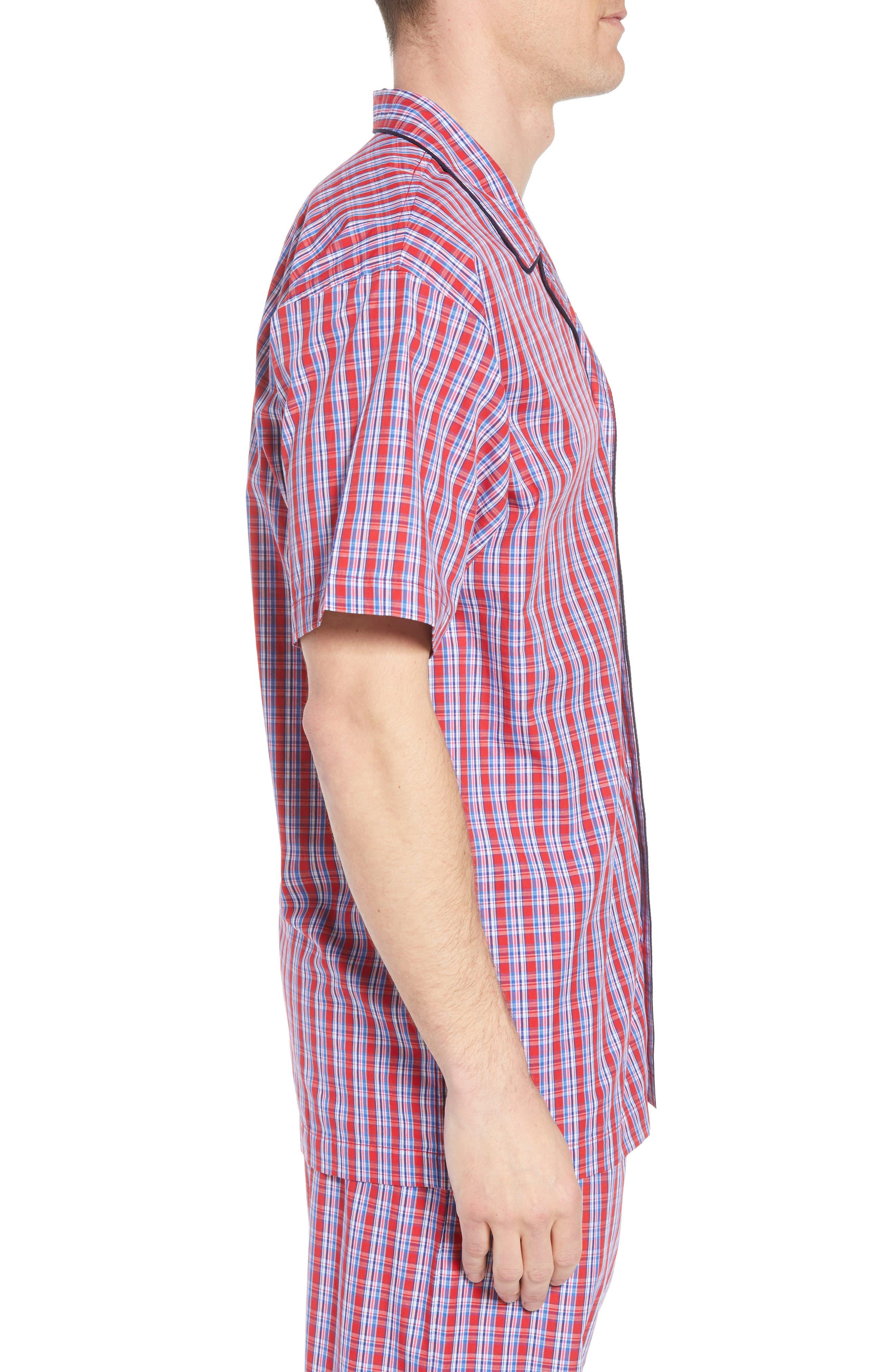 Cotton Pajama Shirt,                             Alternate thumbnail 3, color,                             NEWPORT PLAID/ NAVY