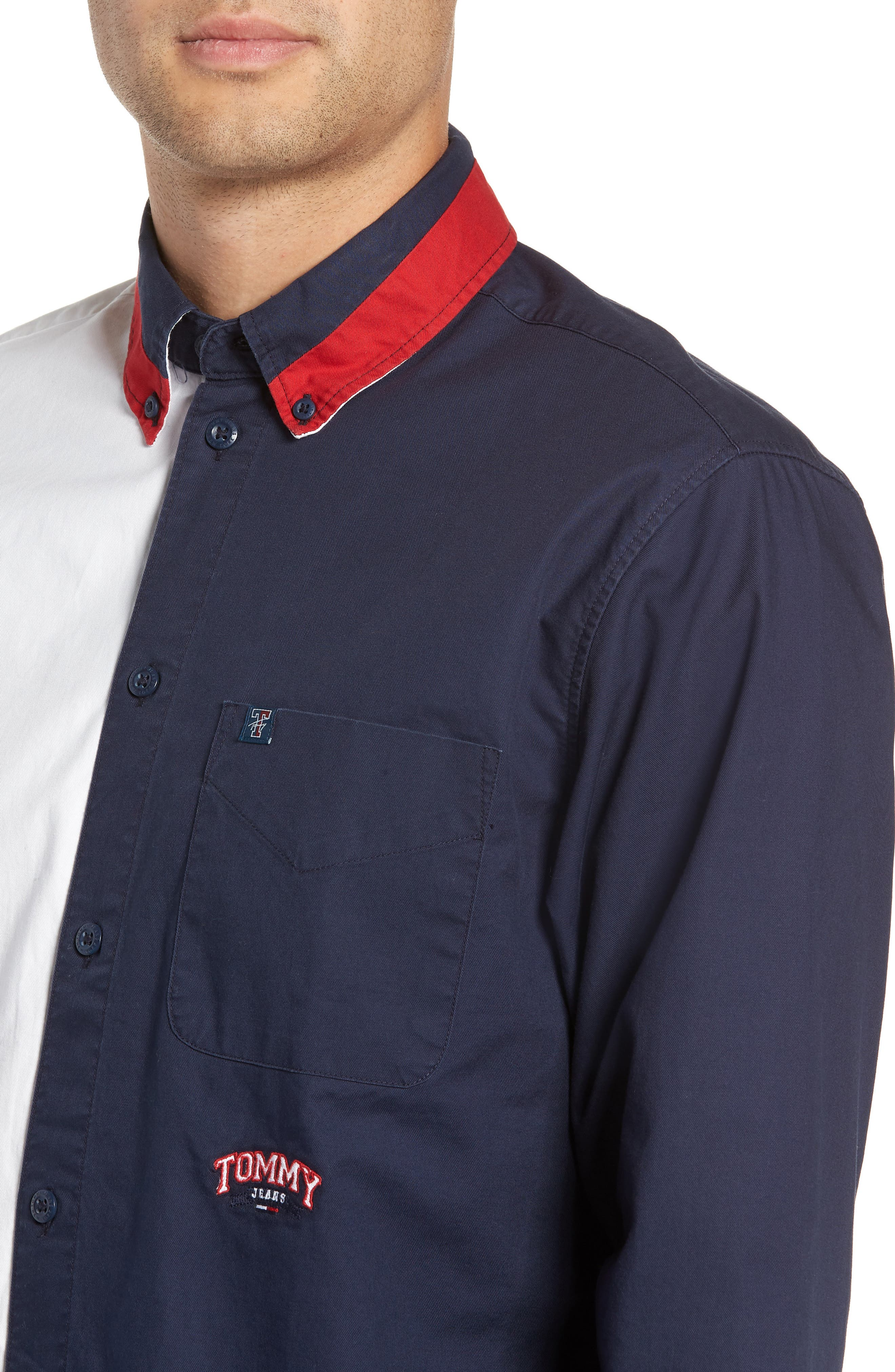 Half & Half Shirt,                             Alternate thumbnail 2, color,                             CLASSIC WHITE / BLACK IRIS