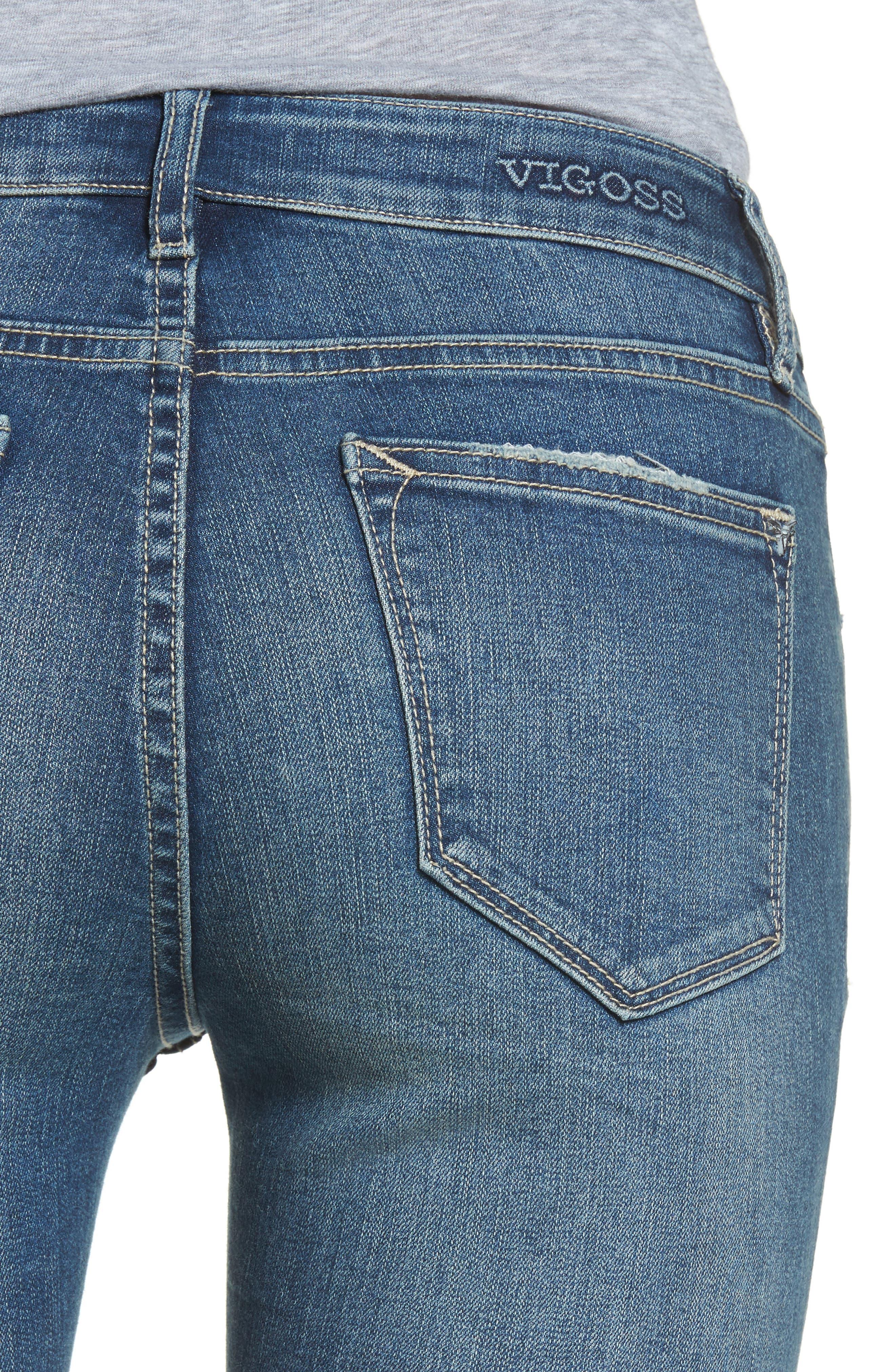 VIGOSS,                             Jagger Release Hem Skinny Jeans,                             Alternate thumbnail 4, color,                             426