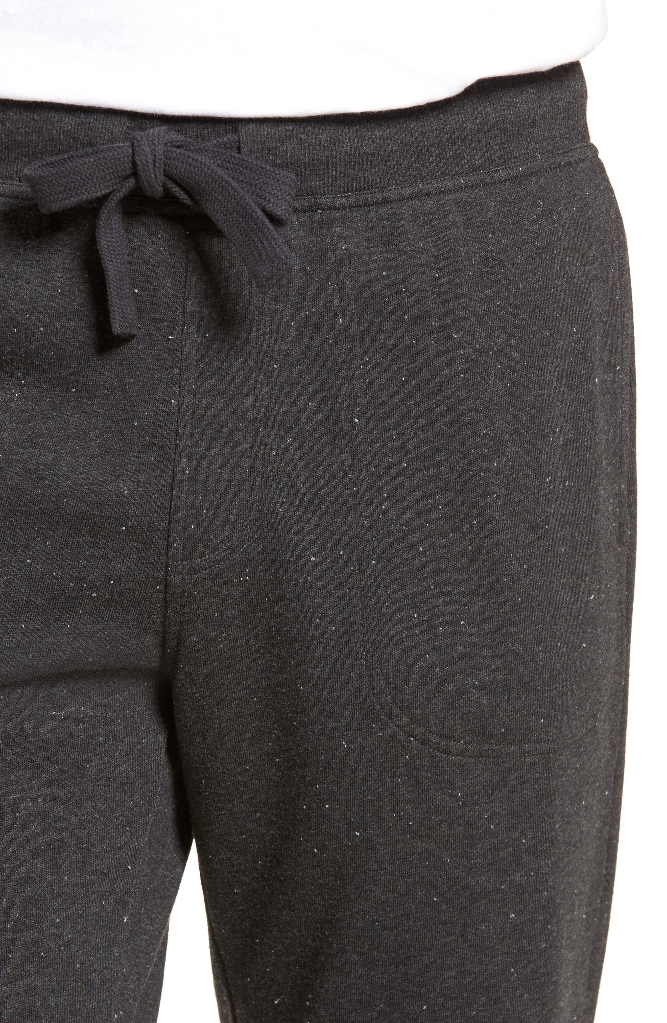Jakob Terry Cotton Blend Lounge Pants,                             Alternate thumbnail 4, color,                             BLACK