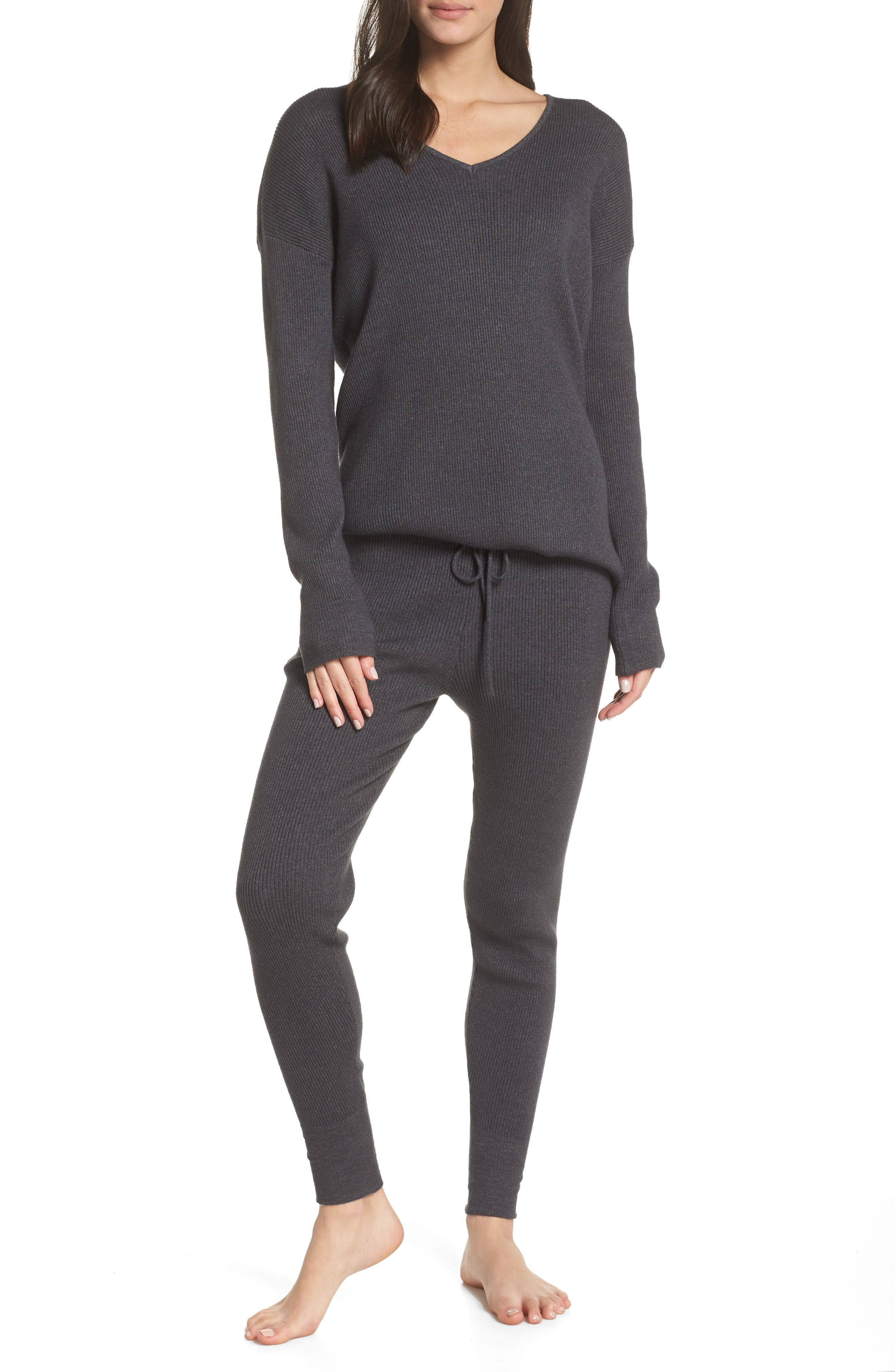 Rib Knit Pullover,                             Alternate thumbnail 7, color,                             GREY MED CHARCOAL HEATHER