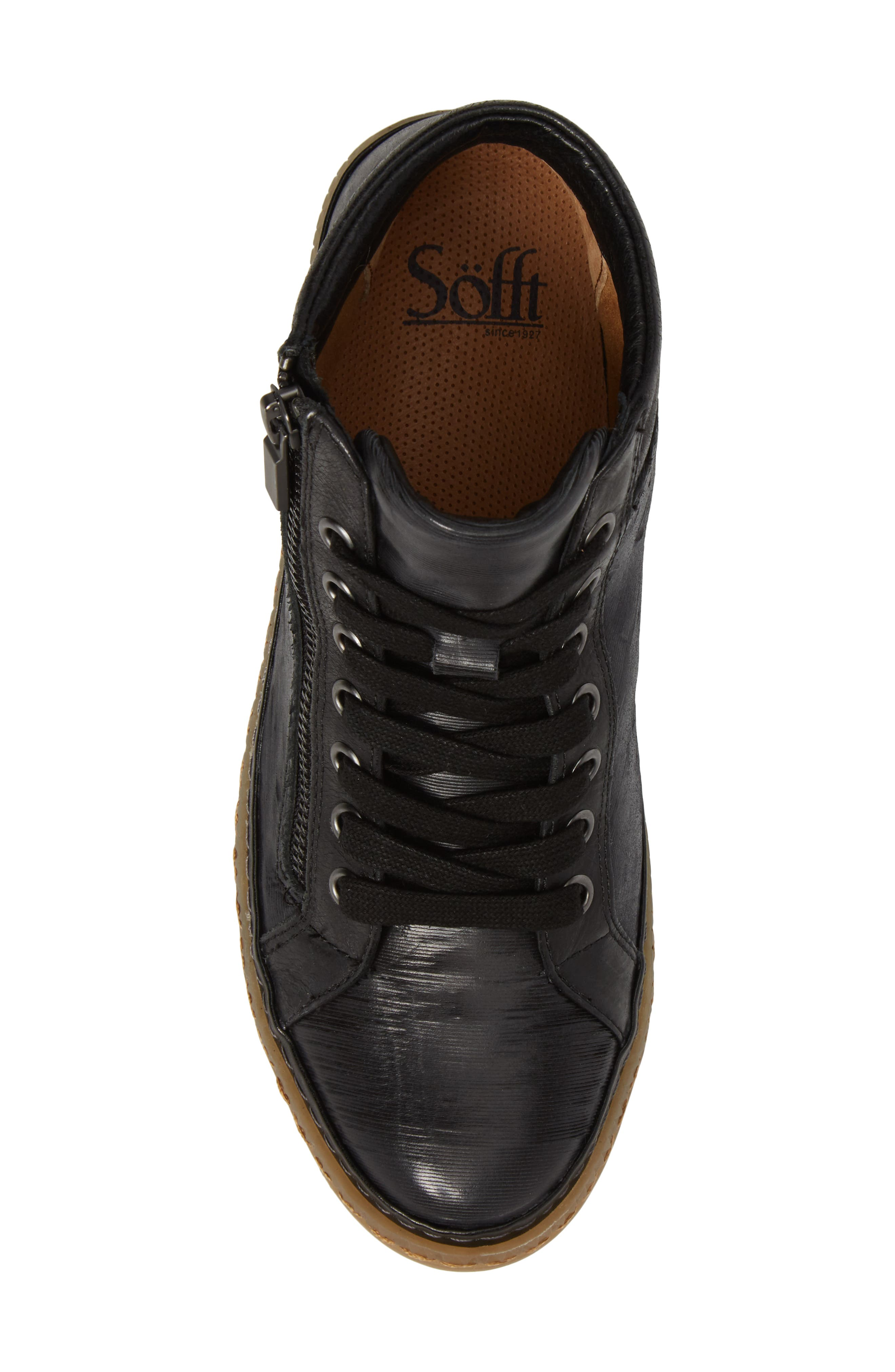 Annaleigh High Top Sneaker,                             Alternate thumbnail 5, color,                             BLACK LEATHER